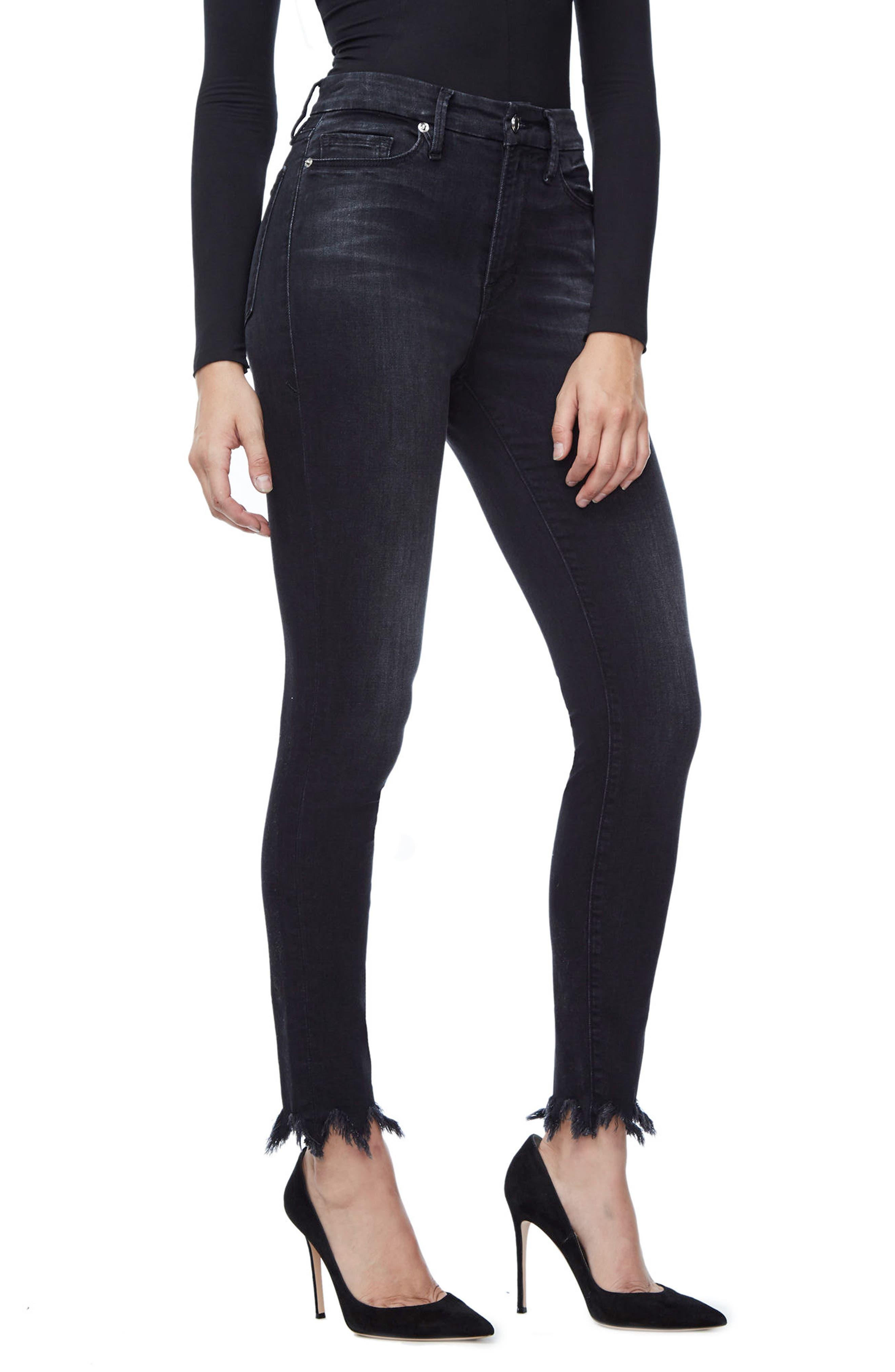 Alternate Image 1 Selected - Good American Good Waist Fray Hem Skinny Jeans (Black 012) (Extended Sizes)