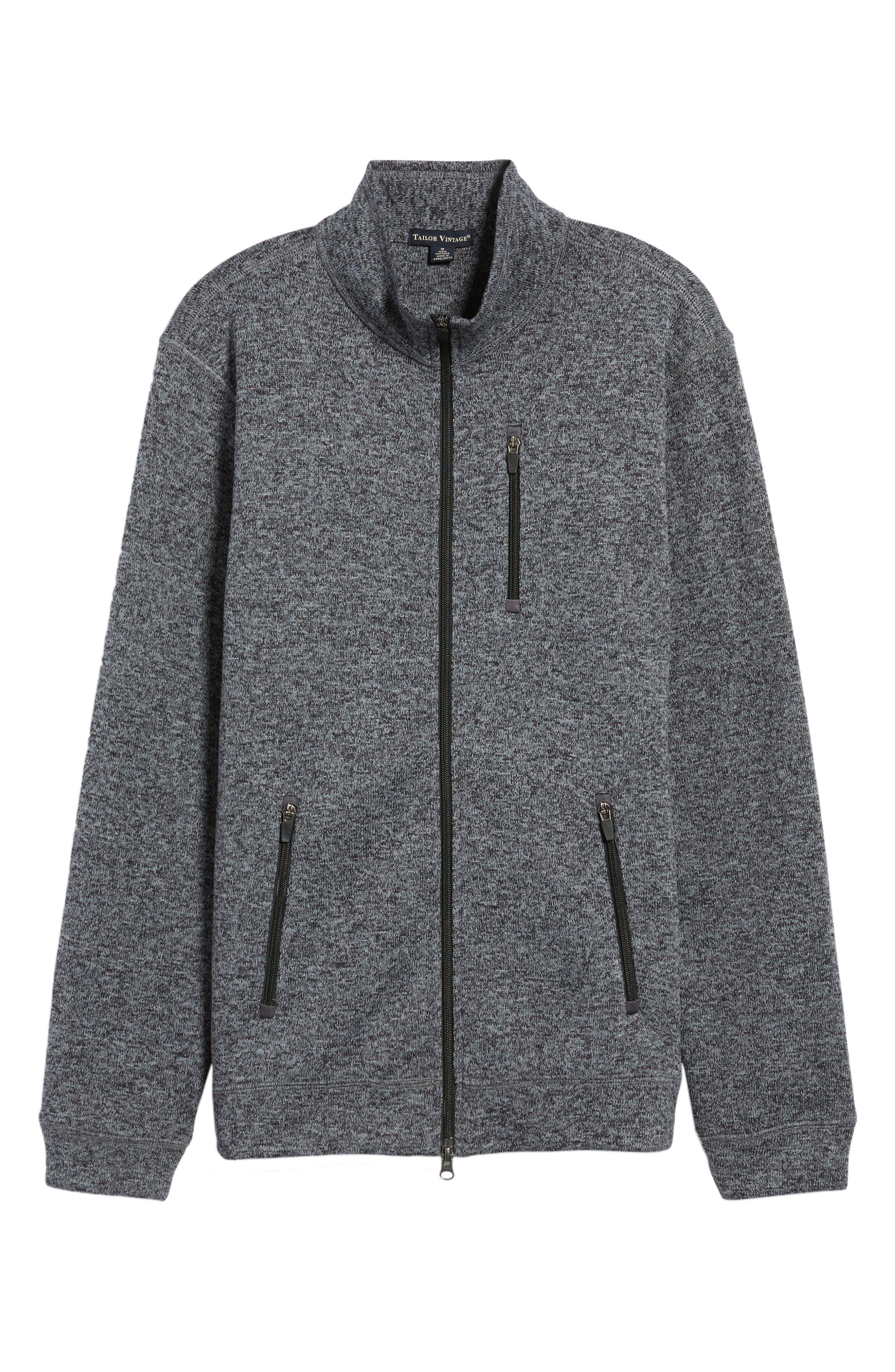Sweater Knit Fleece Zip Front Jacket,                             Alternate thumbnail 6, color,                             Black/ Grey
