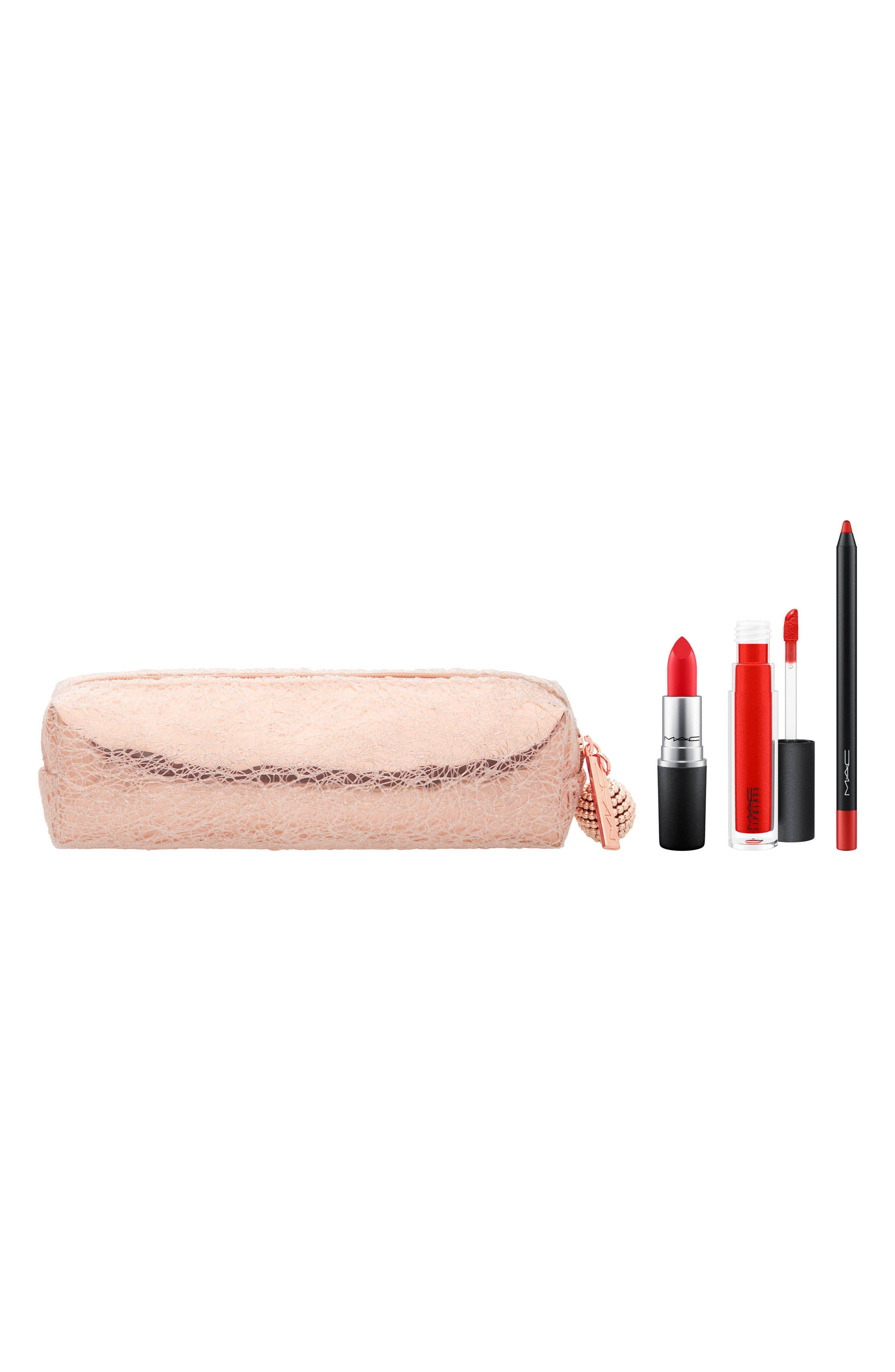 MAC Snow Ball Red Lip Bag,                             Main thumbnail 1, color,                             Red