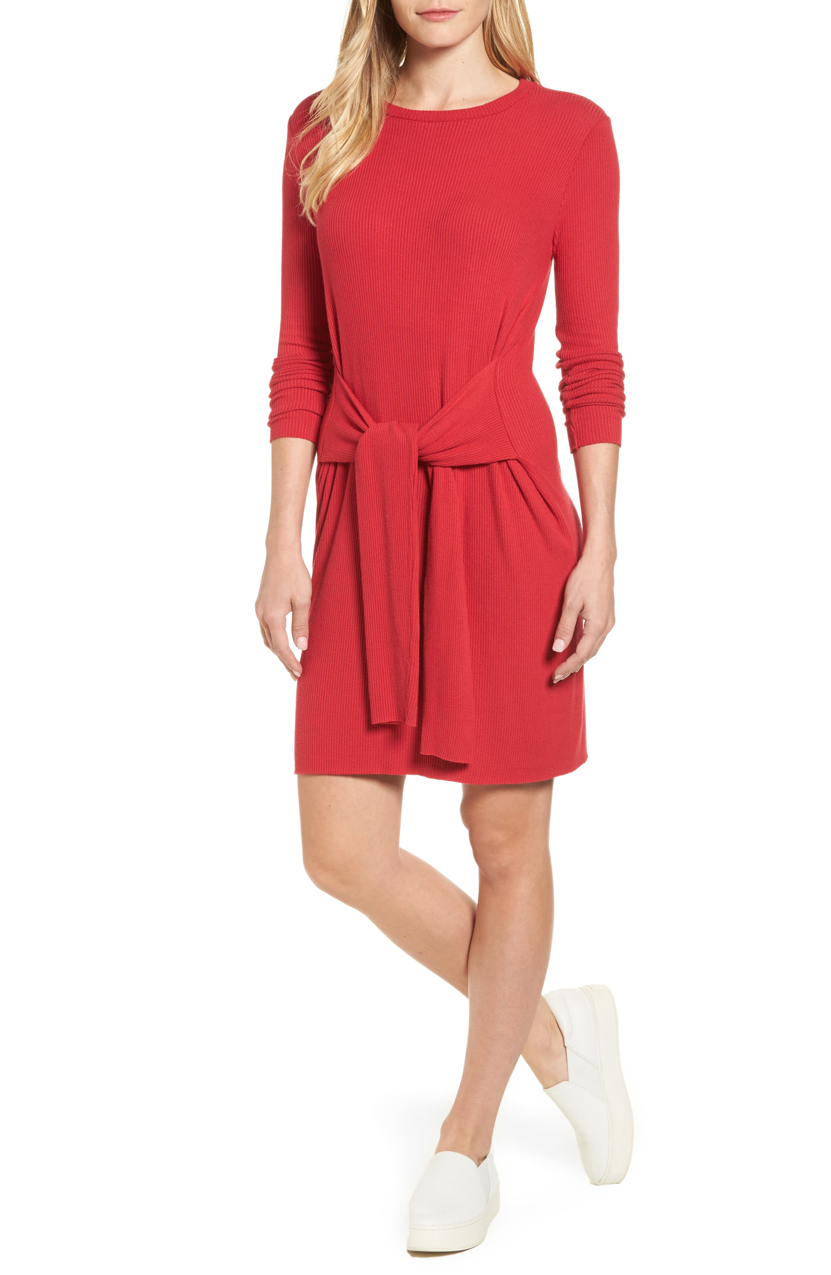 Ribbed Tie-Waist Sweater Dress,                         Main,                         color, Red