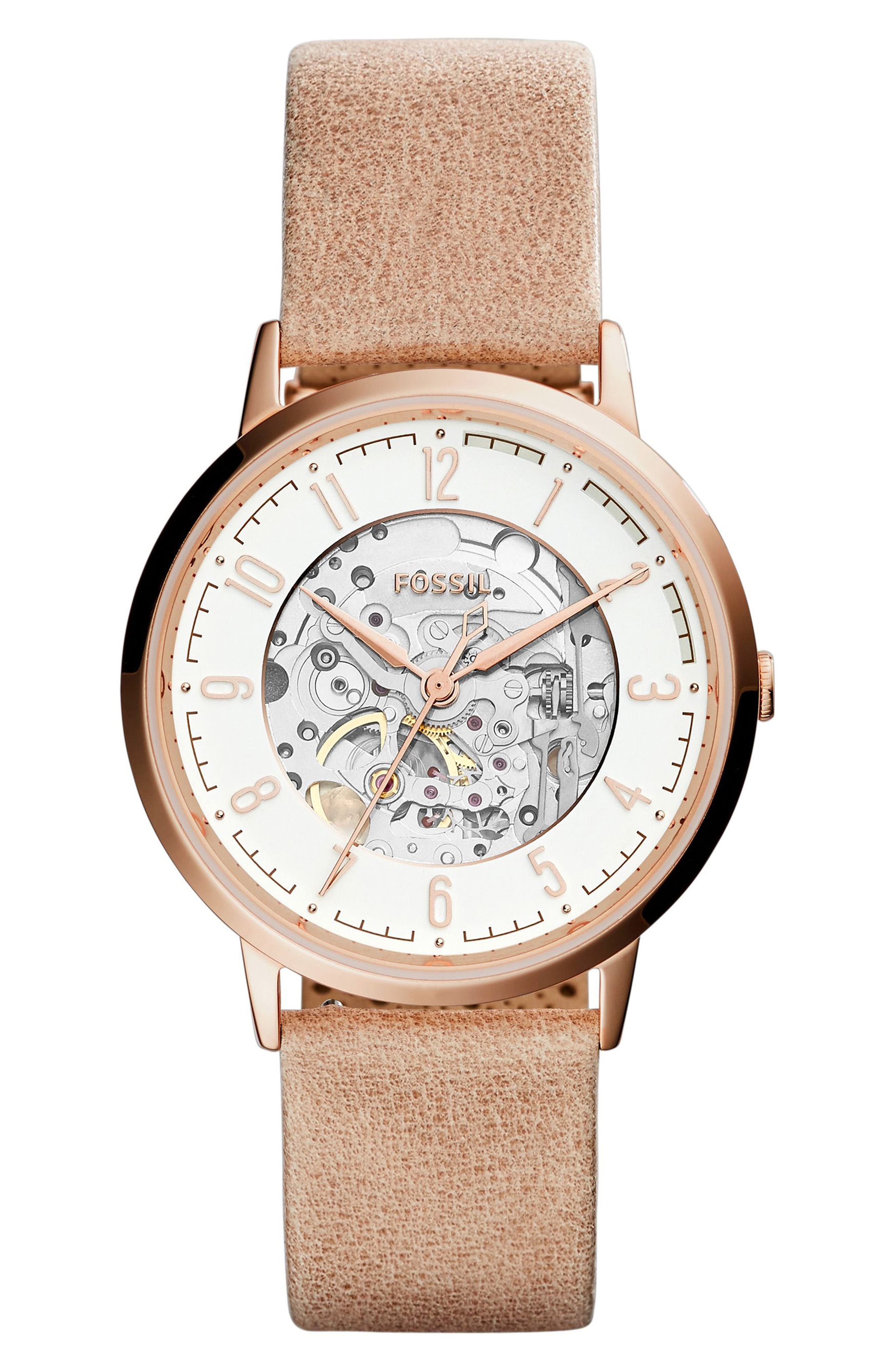 Vintage Muse Automatic Leather Strap Watch, 40mm,                         Main,                         color, Brown/ White/ Rose Gold
