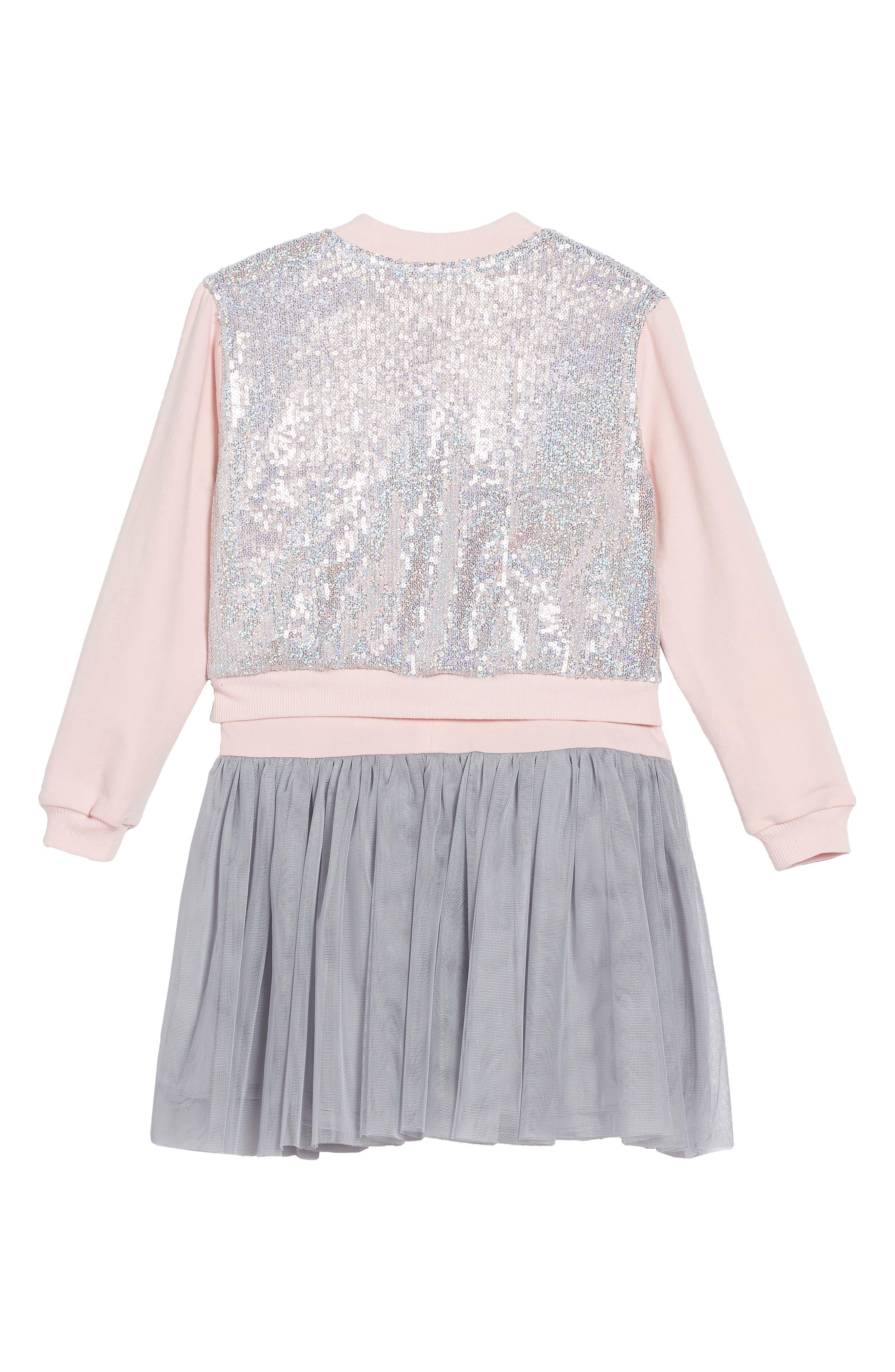 Tank Dress & Sequin Bomber Jacket Set,                             Alternate thumbnail 2, color,                             Silver/ Pink