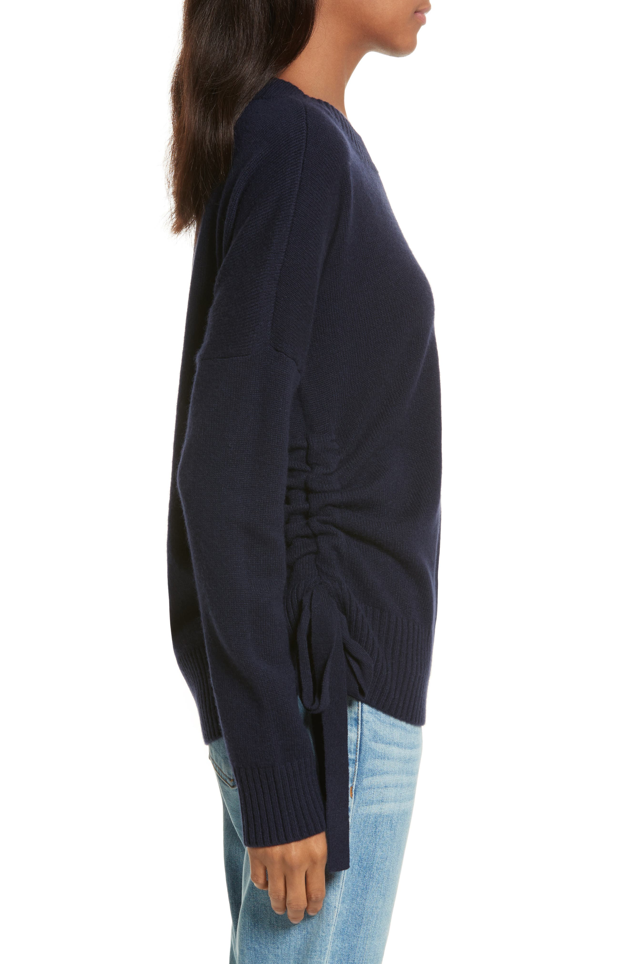 Side Tie Cashmere Sweater,                             Alternate thumbnail 3, color,                             Midnight