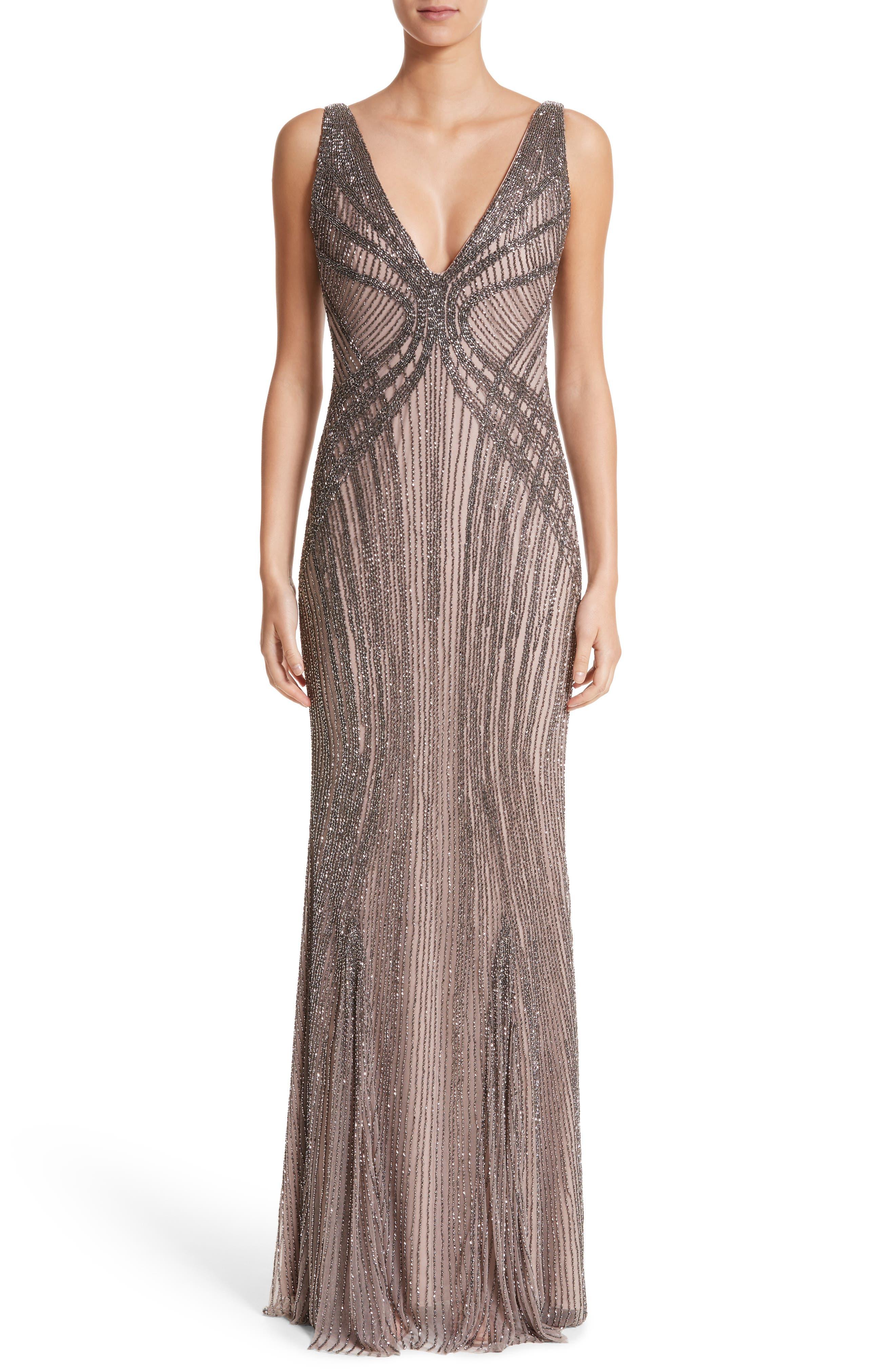 Rachel Gilbert Hand Embellished V-Neck Gown