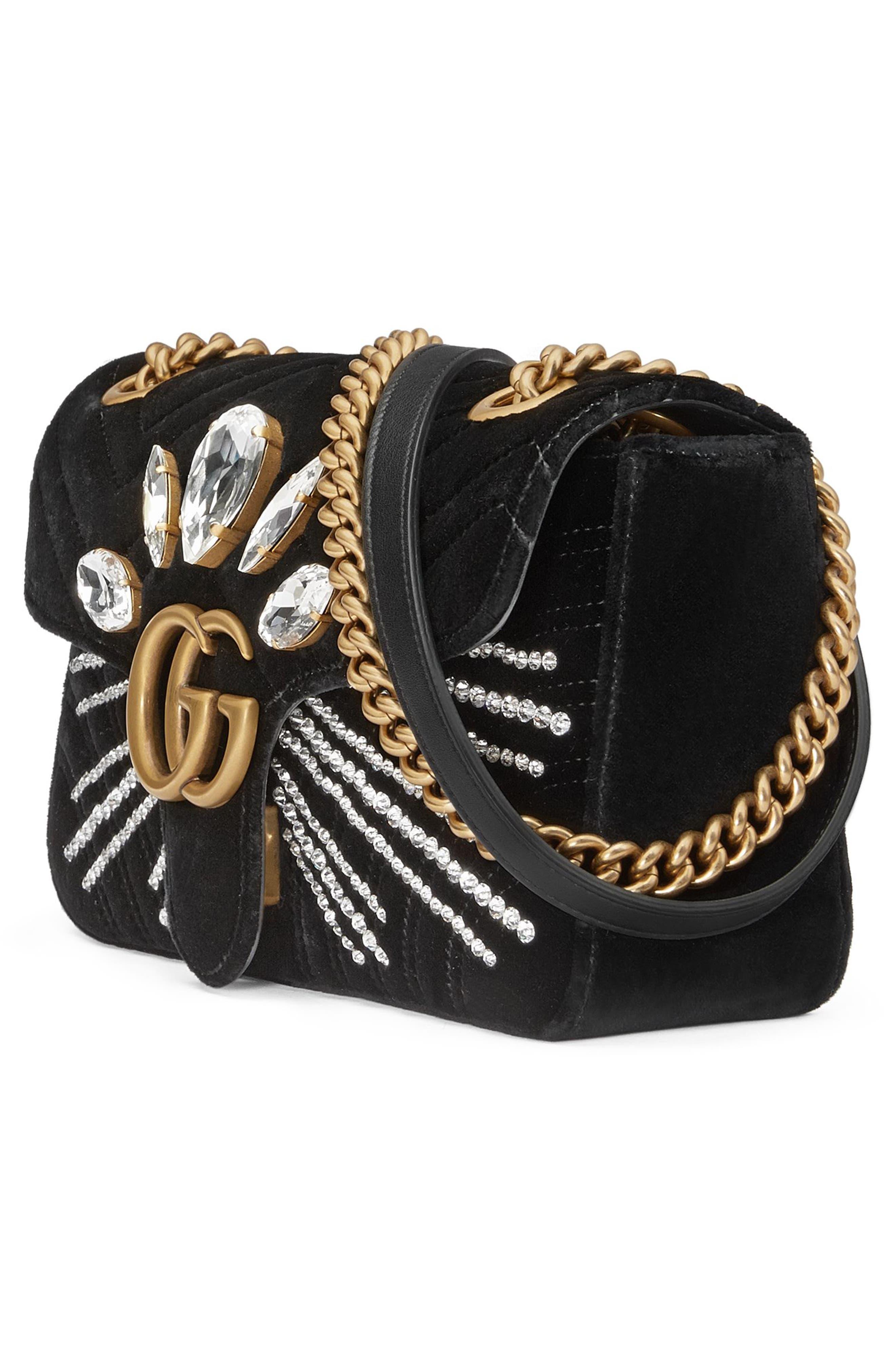 Alternate Image 4  - Gucci GG Marmont 2.0 Crystal Embellished Velvet Crossbody Bag