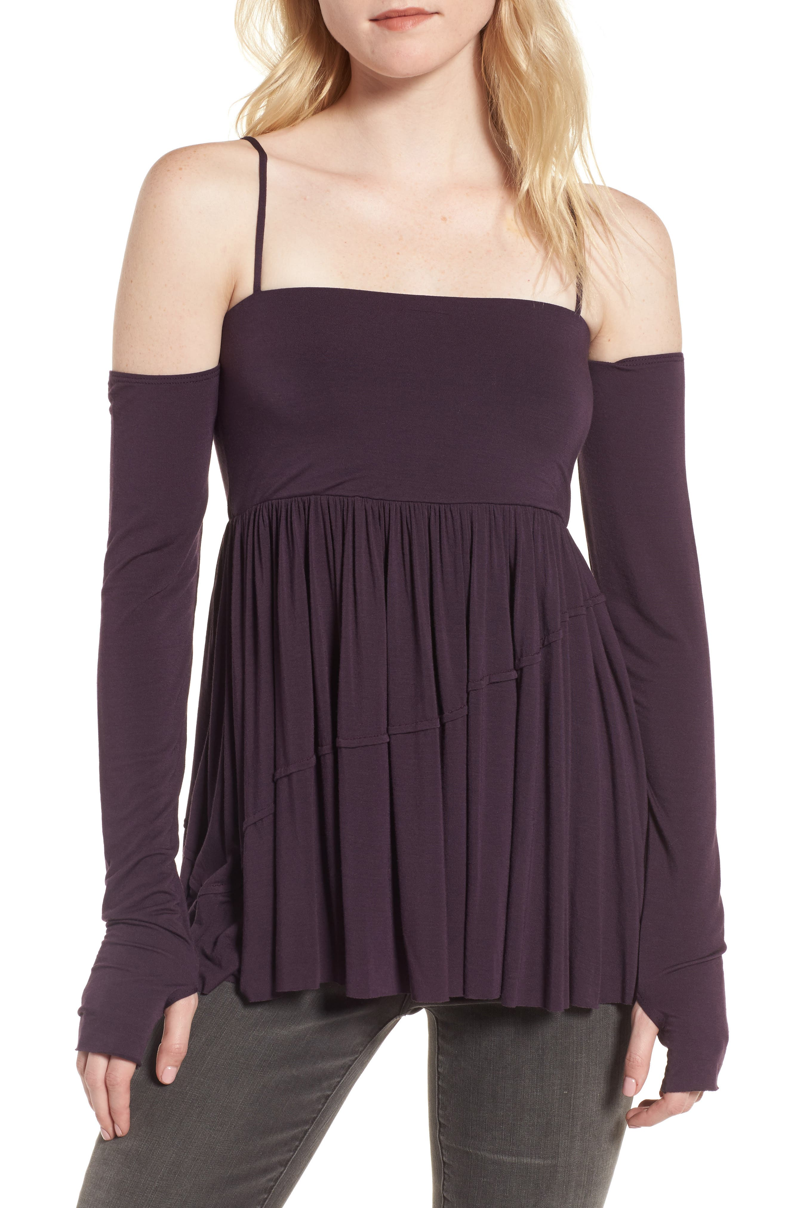 Zombie Off the Shoulder Top,                         Main,                         color, Eggplant