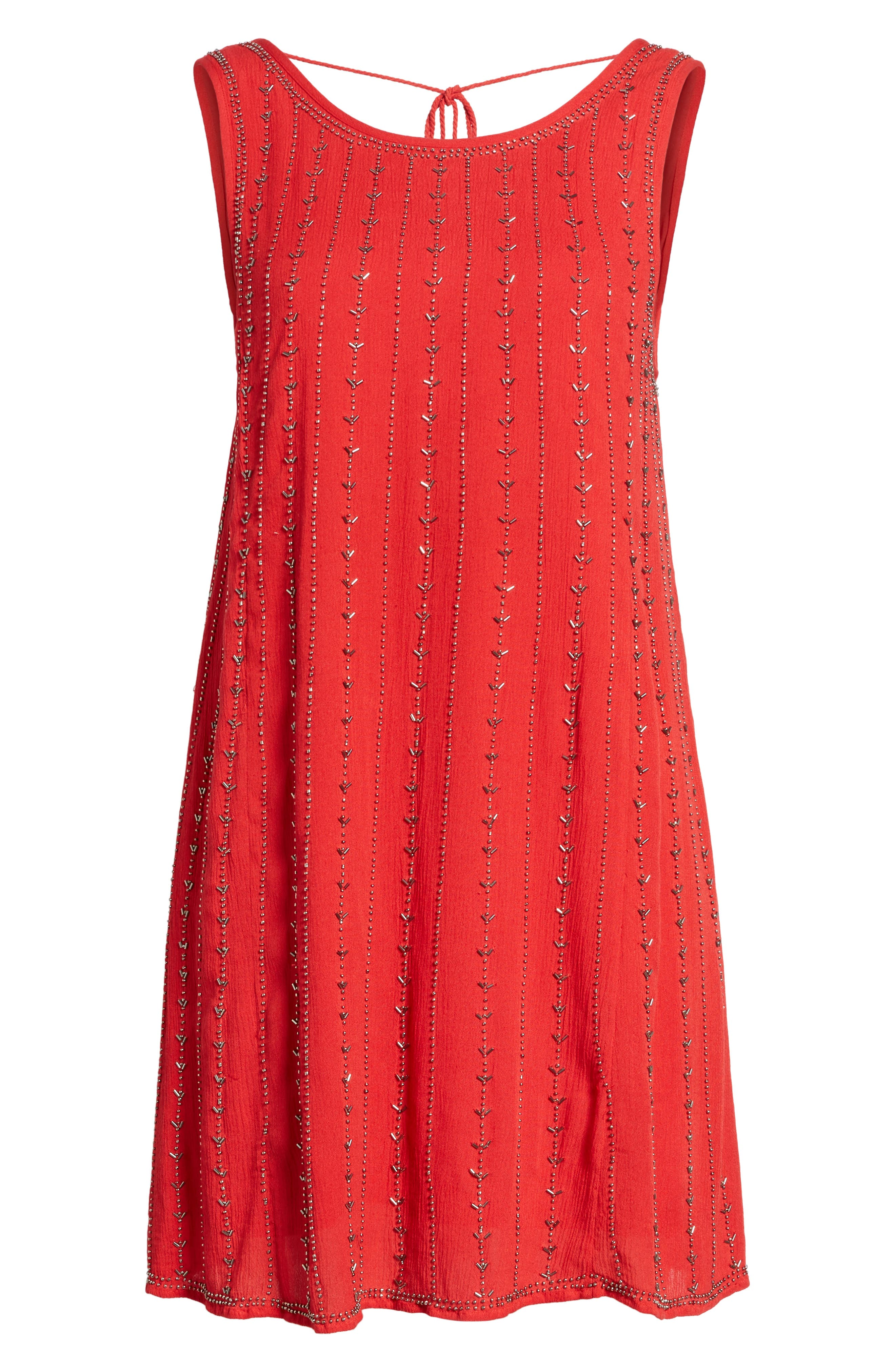 Rouge Beaded Swing Dress,                             Alternate thumbnail 6, color,                             Red