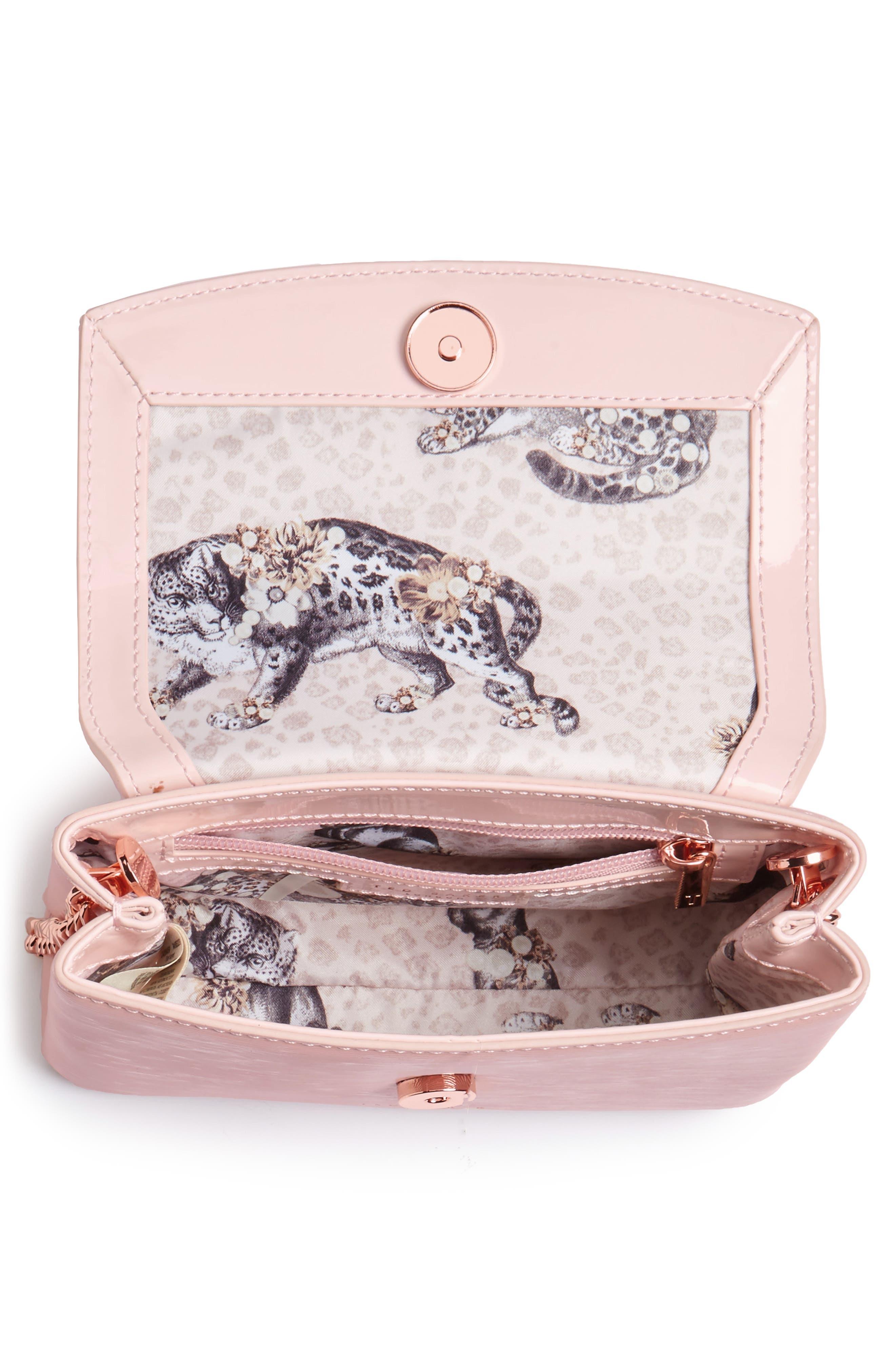 Loopa Bow Mini Leather Crossbody Bag,                             Alternate thumbnail 4, color,                             Light Pink