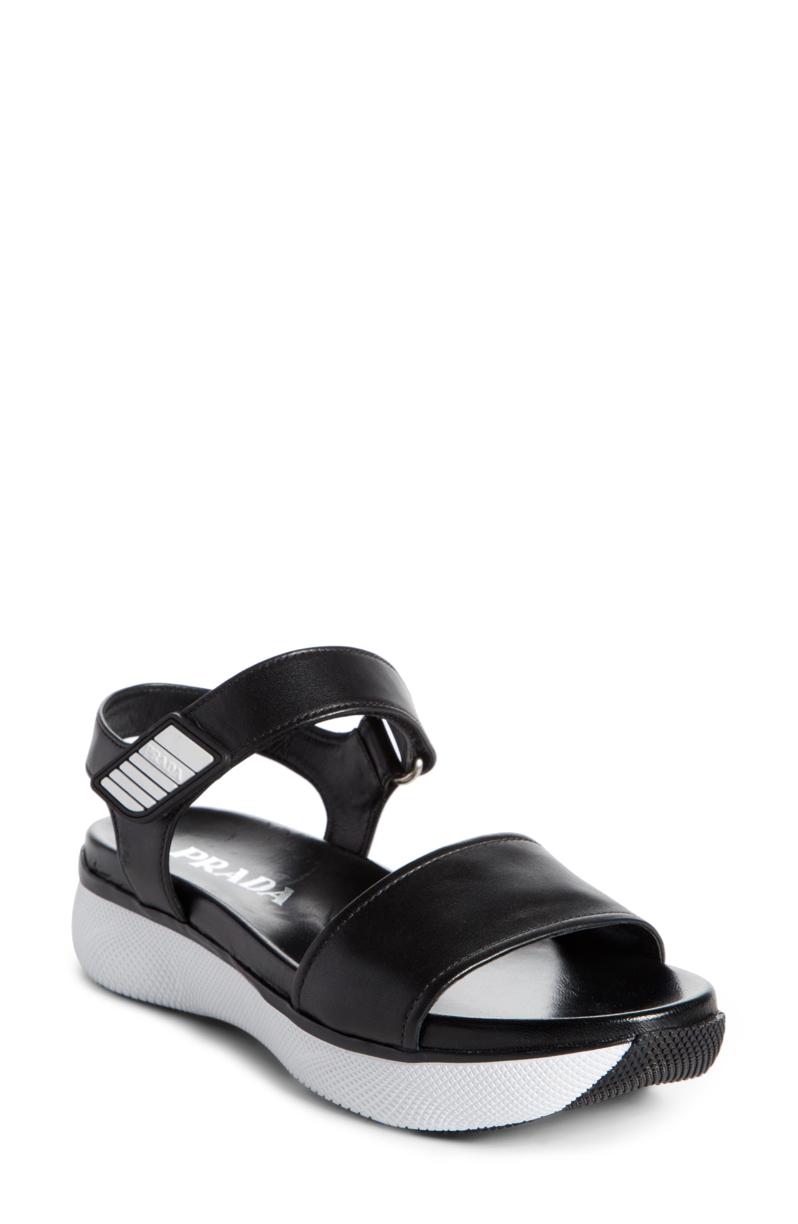 Platform Sandal,                             Main thumbnail 1, color,                             Black/ White