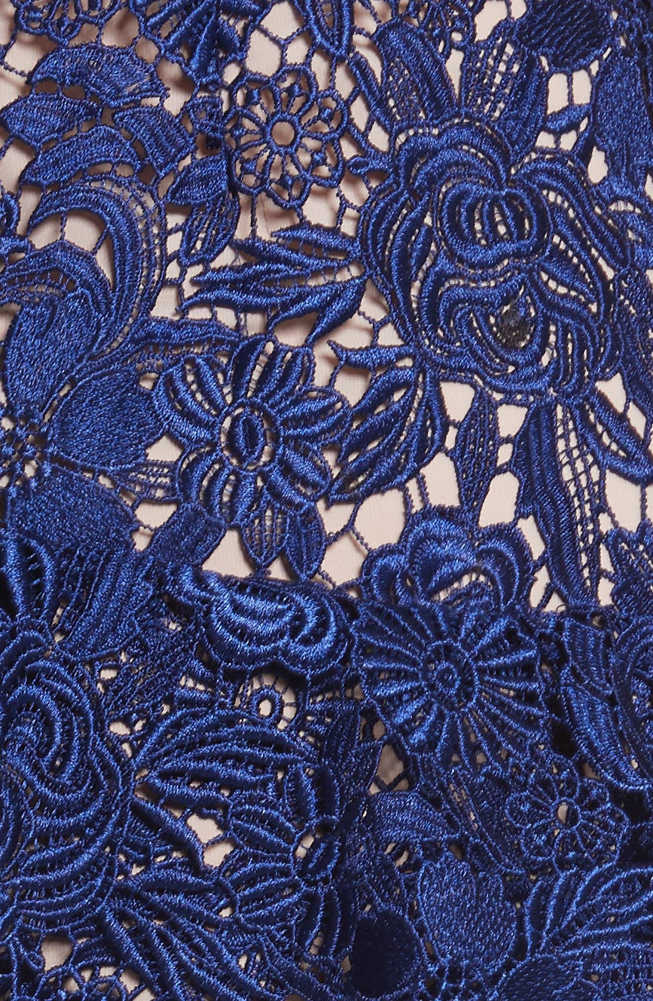 Florrie Ruffled Lace Midi Dress,                             Alternate thumbnail 5, color,                             Indigo/ Nude