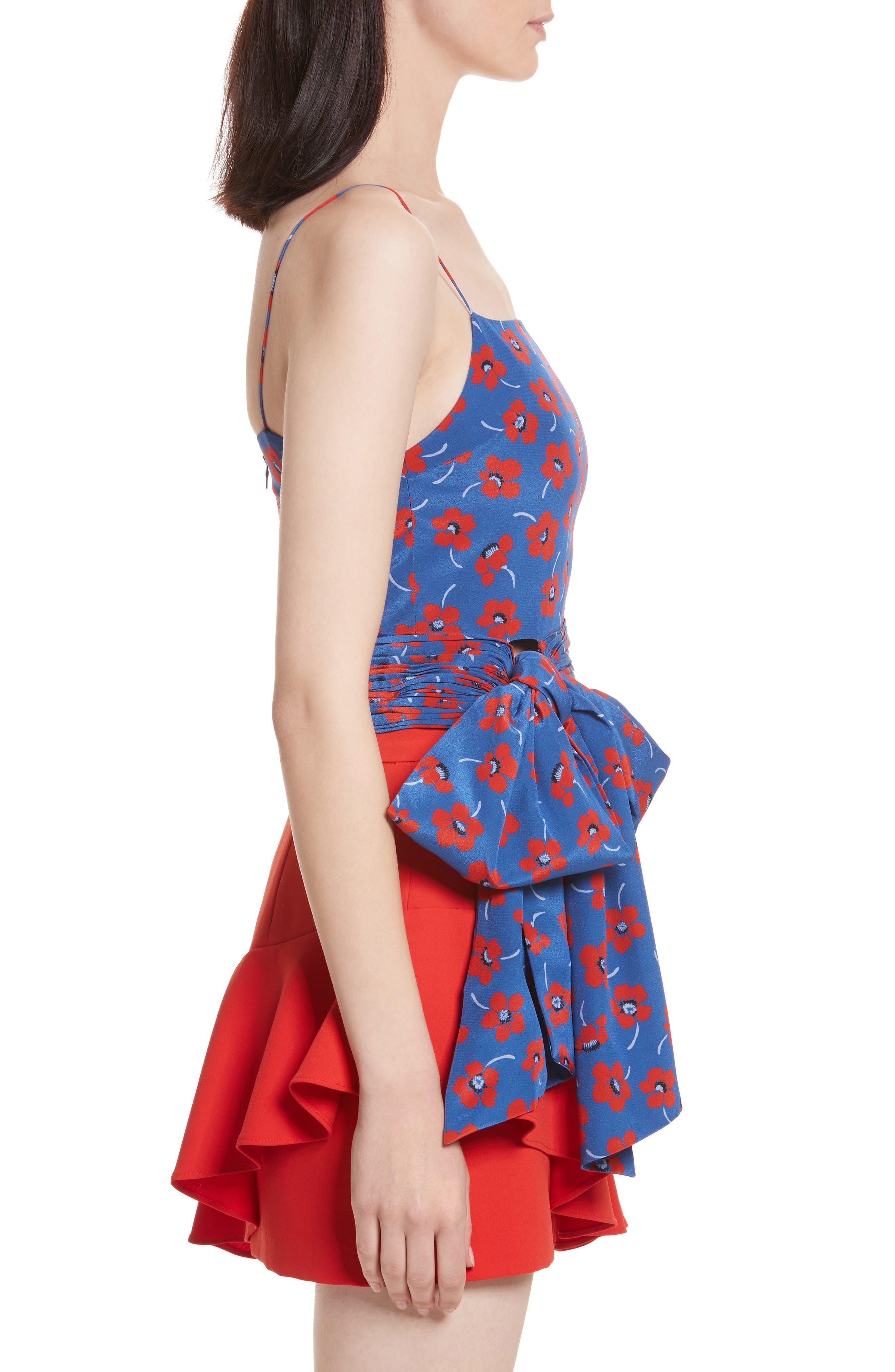 Diedra Tie Waist Silk Crop Top,                             Alternate thumbnail 3, color,                             Floating Floral/ Blue Quartz