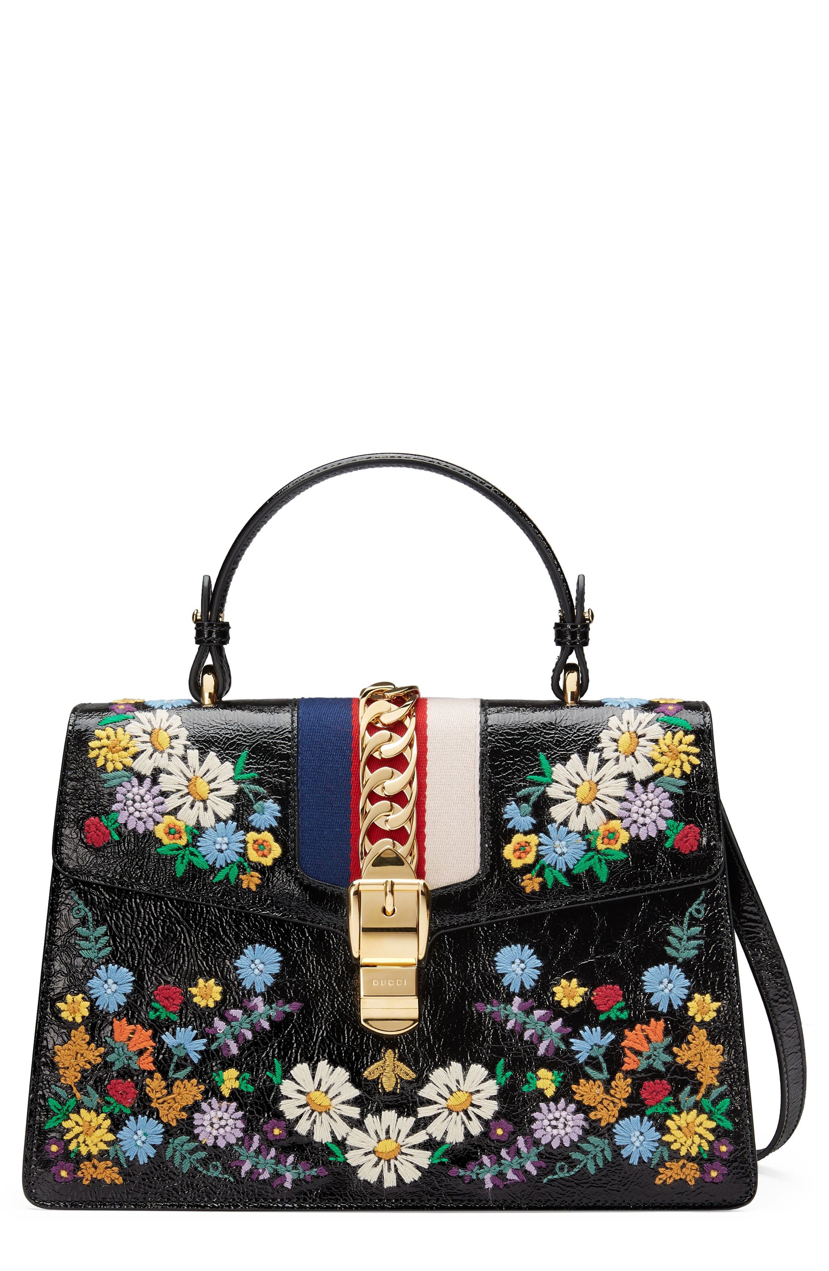 Medium Sylvie Floral Embroidered Top Handle Leather Shoulder Bag,                             Main thumbnail 1, color,                             Nero Multi