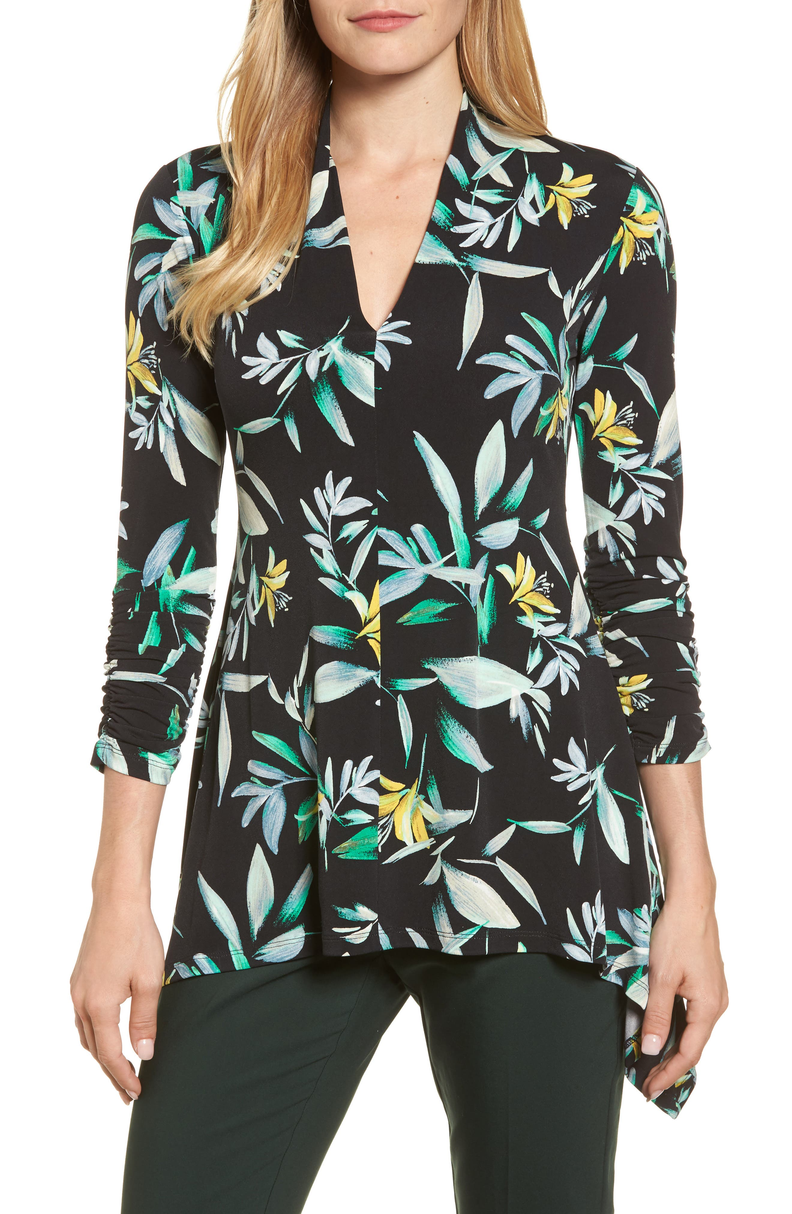Ruched Sleeve Floral Print Top,                         Main,                         color, Rich Black