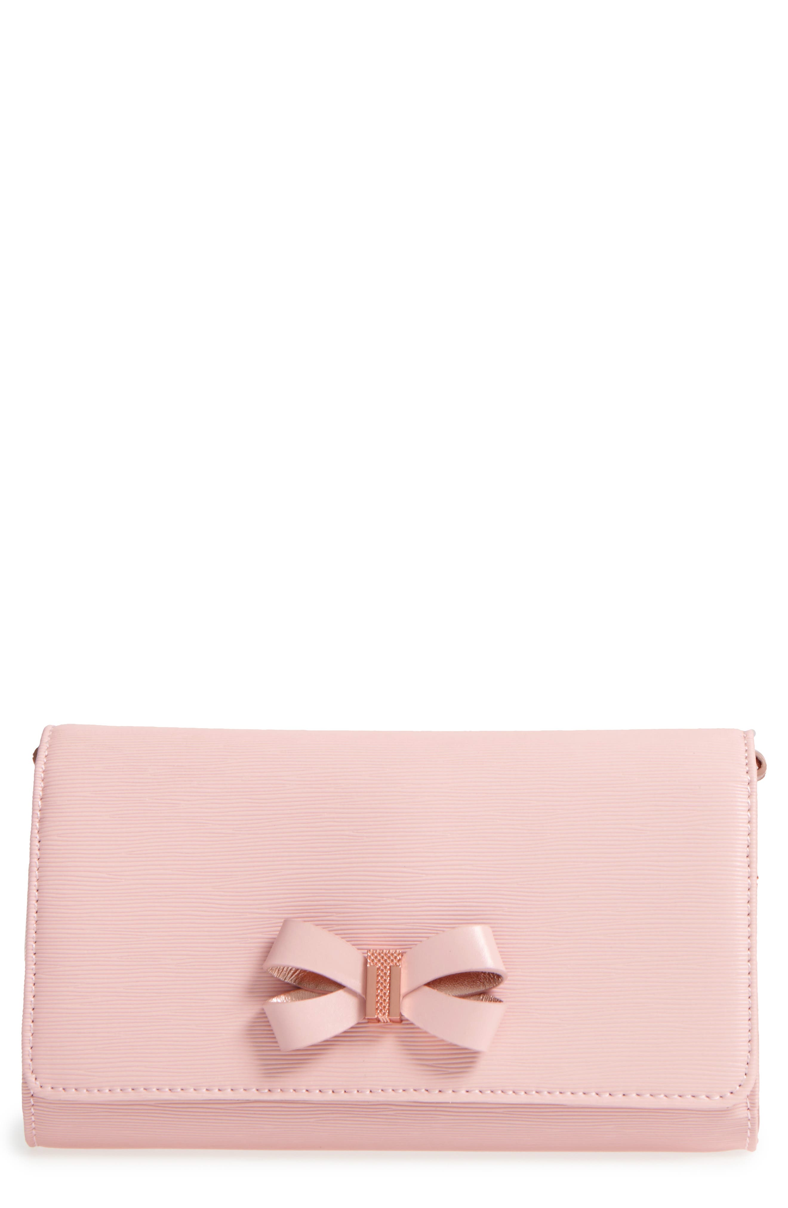 Melisia Bow Leather Mantinee Wallet on a Chain,                         Main,                         color, Light Pink