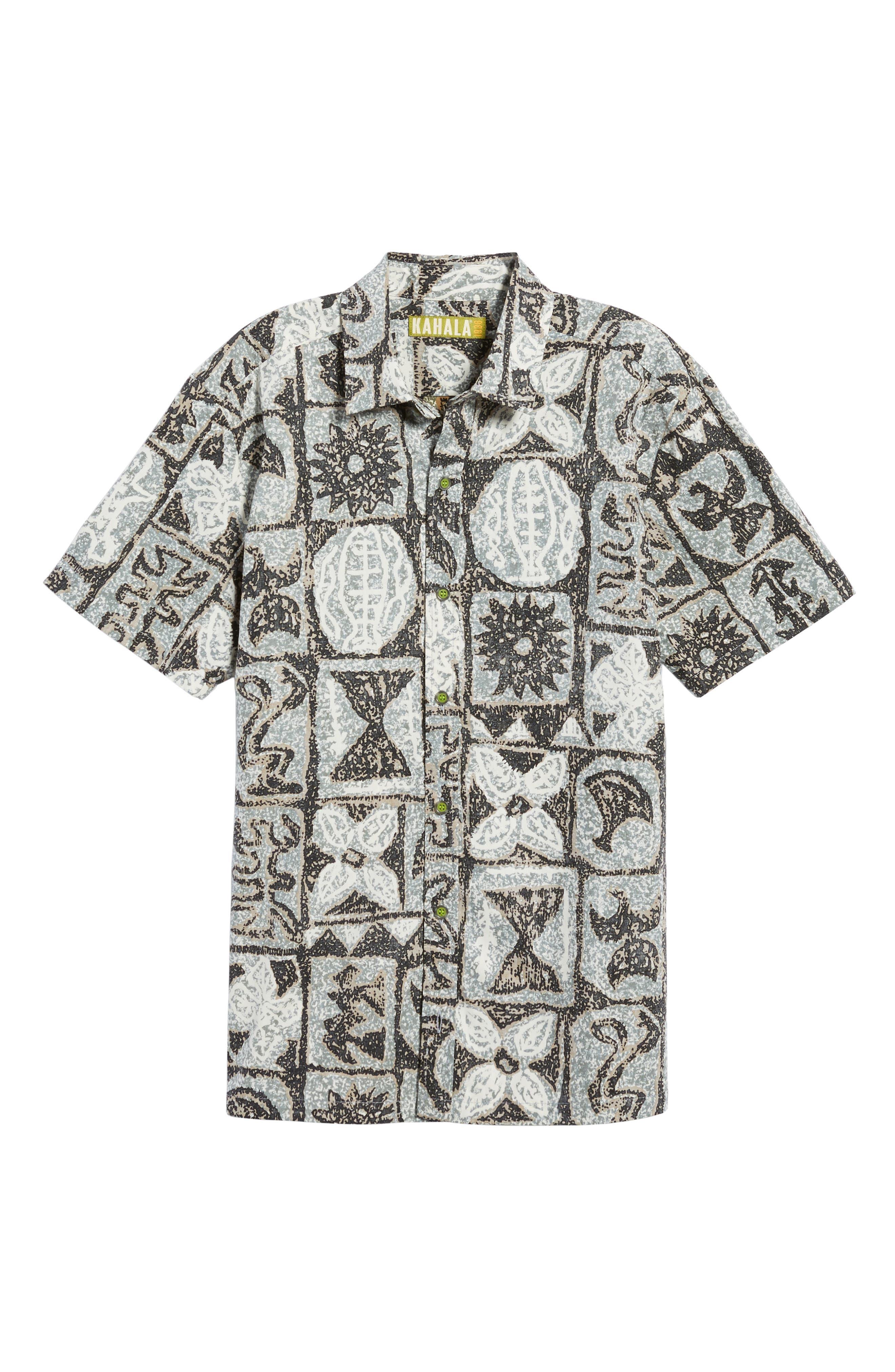 Poi Pounder Trim Fit Print Sport Shirt,                             Alternate thumbnail 6, color,                             Black