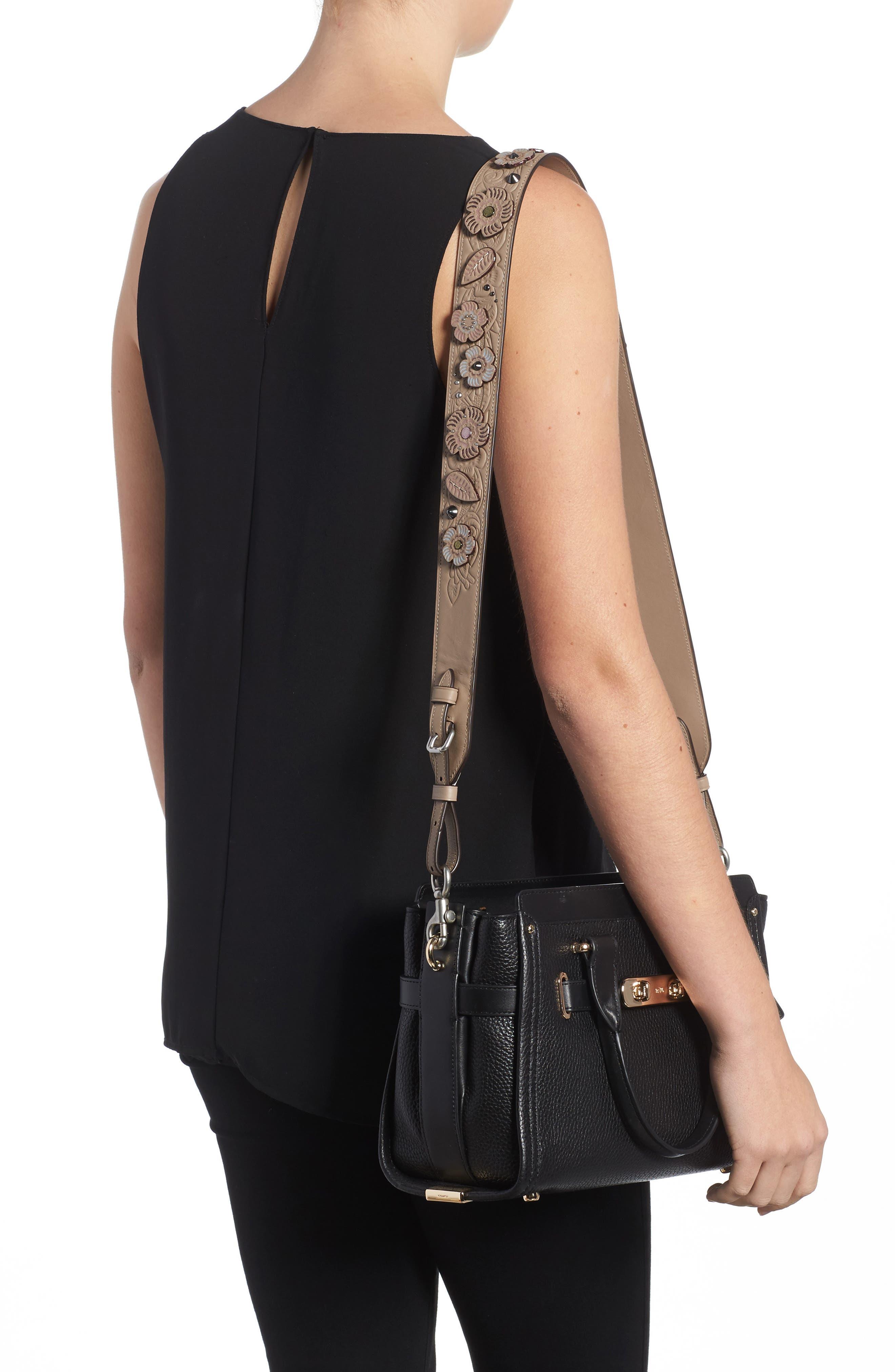 Alternate Image 2  - COACH Tea Rose Tooled Leather Guitar Bag Strap