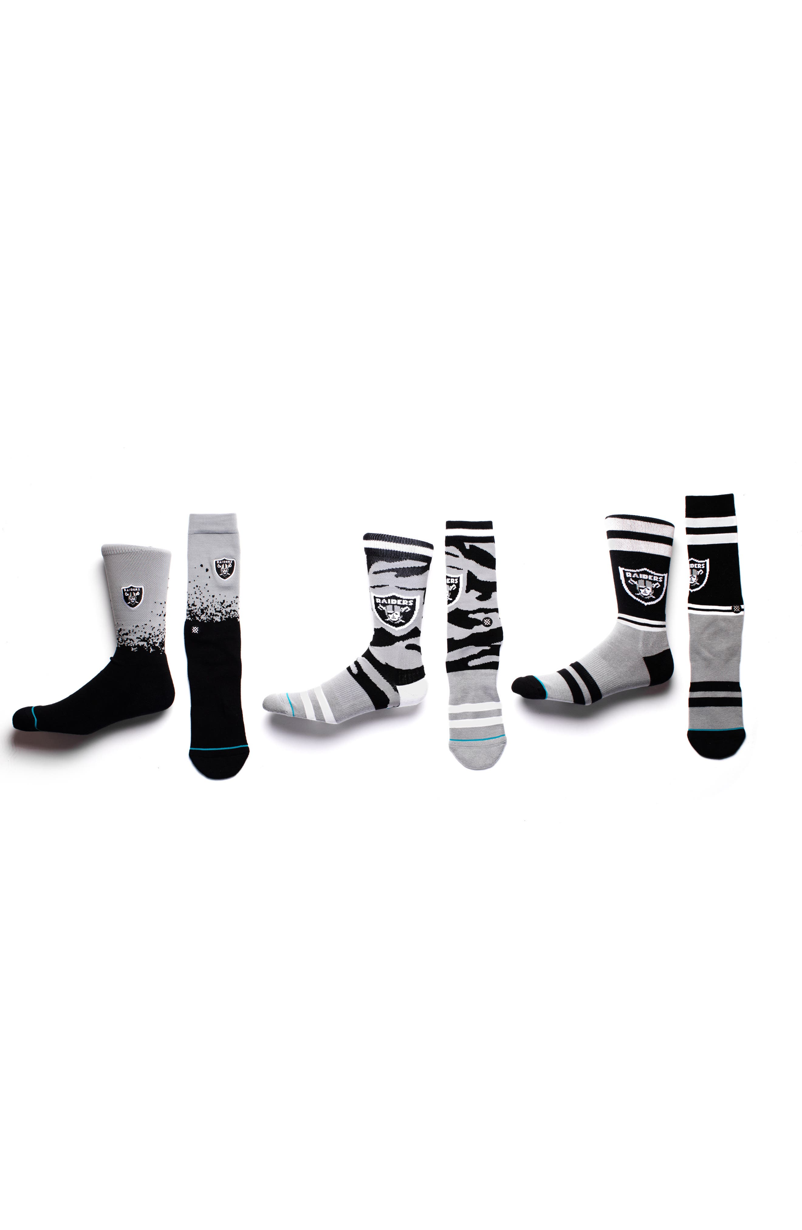 Oakland Raiders - Fade Socks,                             Alternate thumbnail 3, color,                             Black
