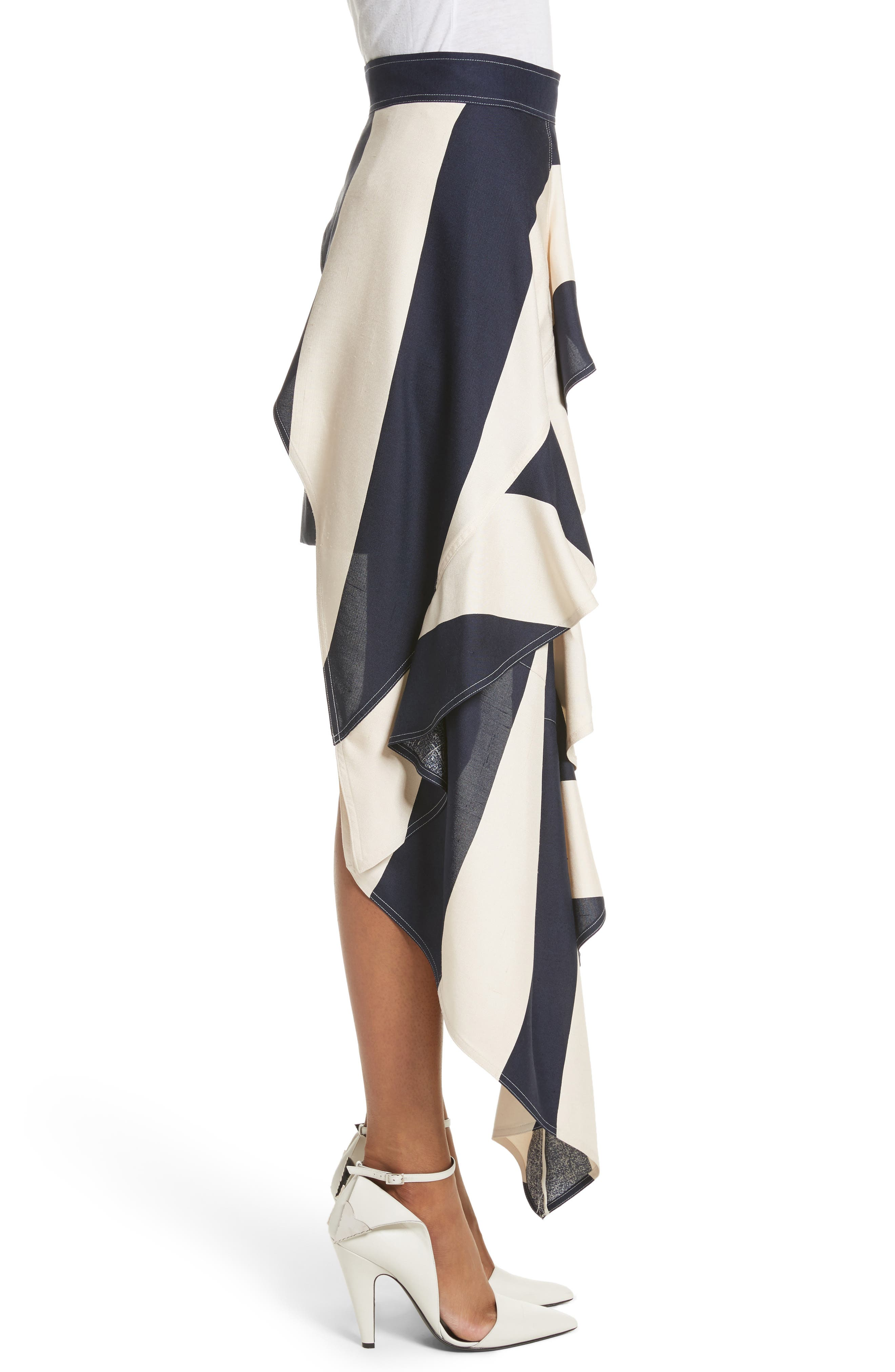 Alternate Image 4  - Calvin Klein 205W39NYC Flag Stripe Silk Shantung Drape Skirt