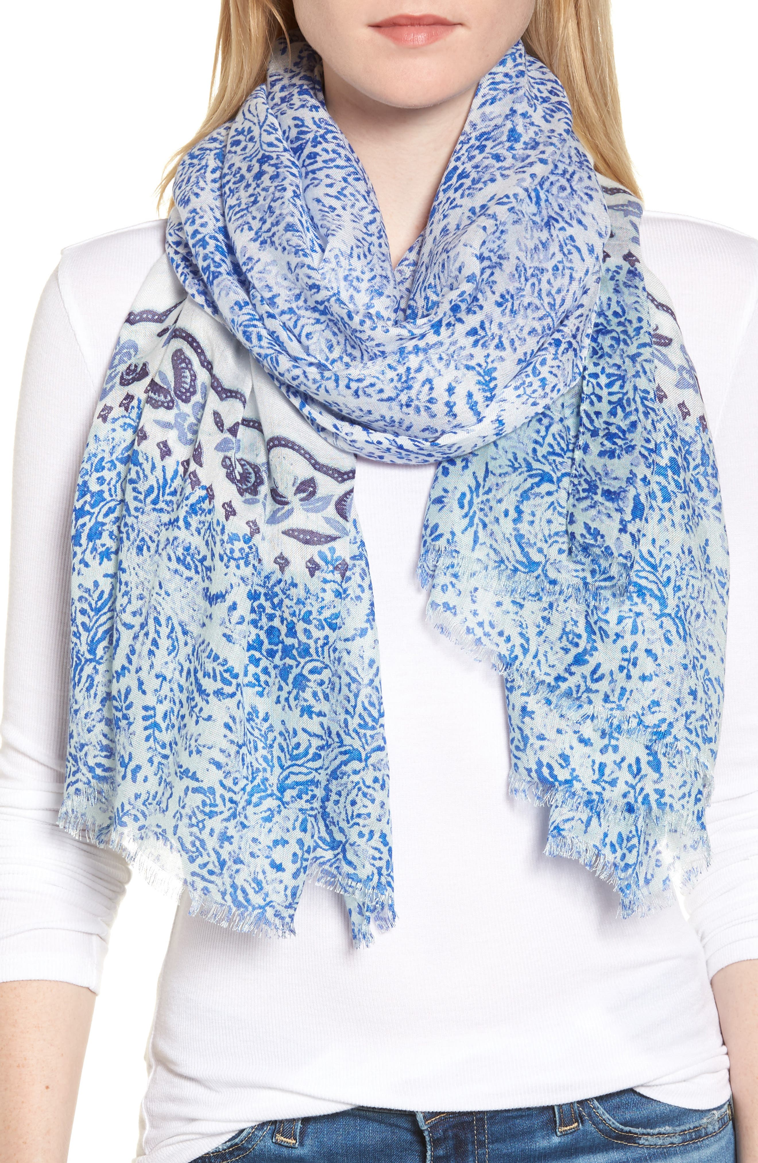 Print Modal Scarf,                             Main thumbnail 1, color,                             Blue Blooming Waves Scarf