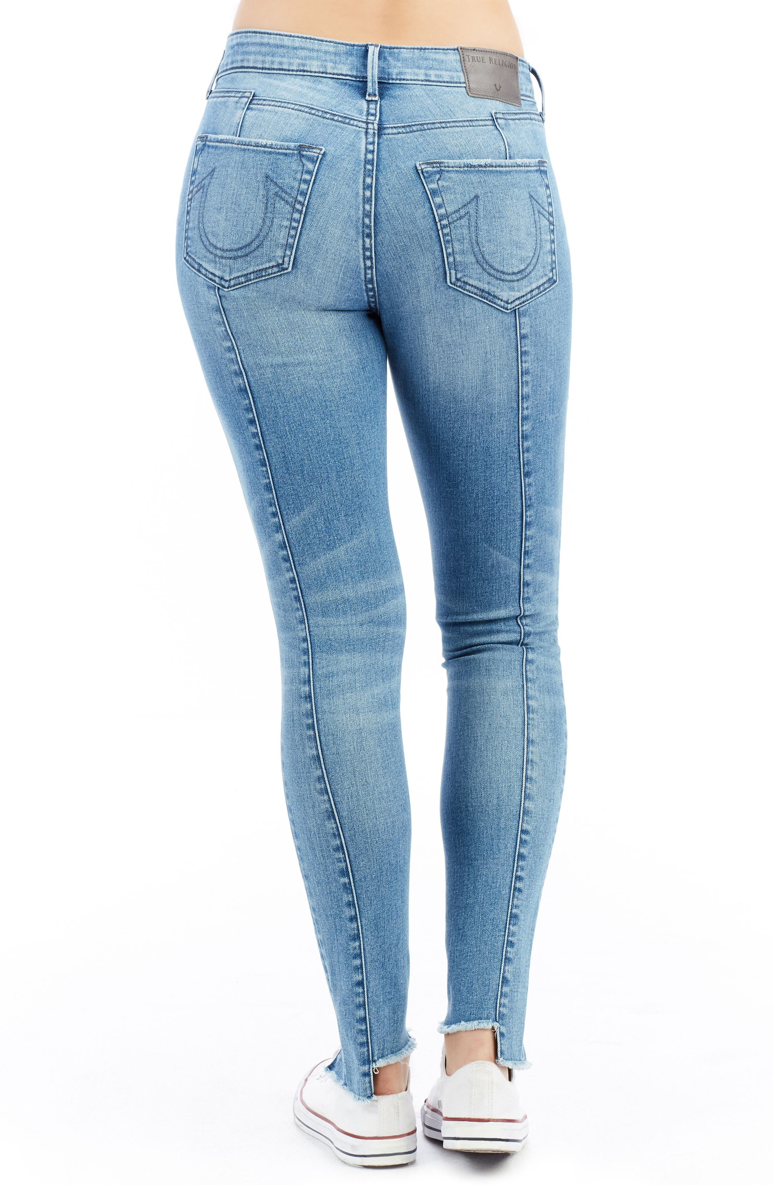 Jennie Curvy Ankle Skinny Jeans,                             Alternate thumbnail 3, color,                             Island Fever