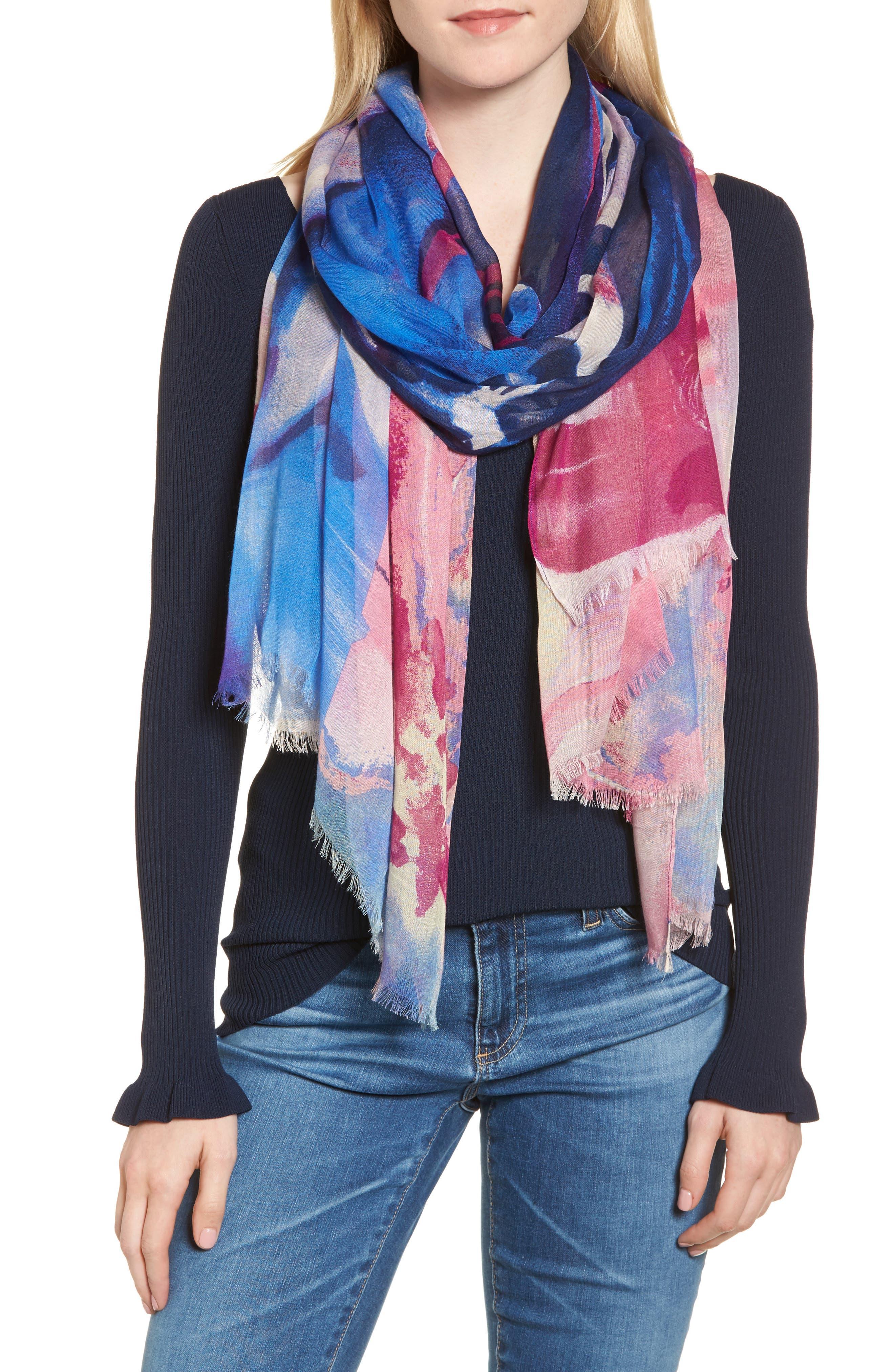 Print Modal & Silk Scarf,                         Main,                         color, Blue Maxi Floral