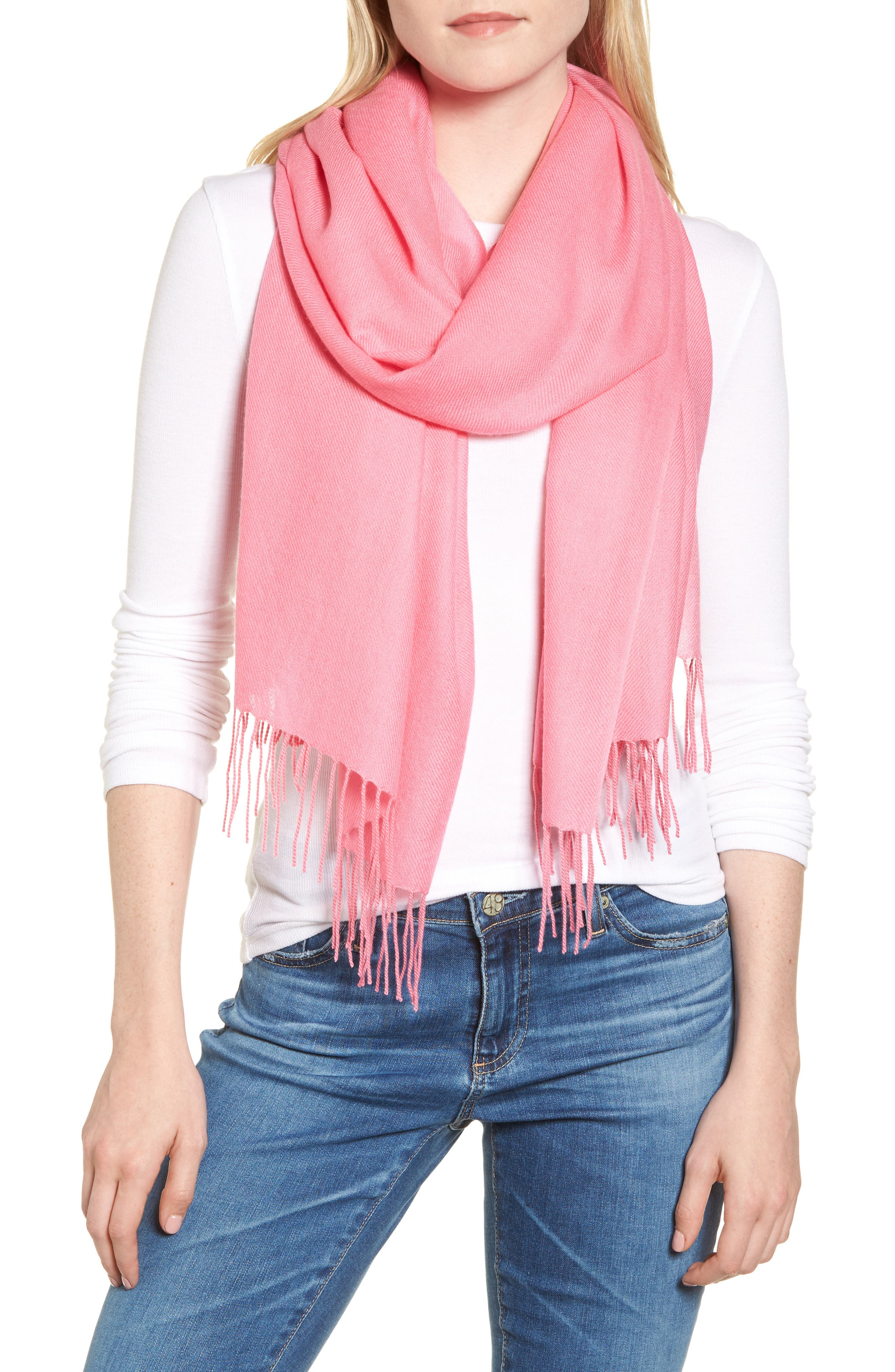 Tissue Weight Wool &Cashmere Scarf,                         Main,                         color, Pink Zenna