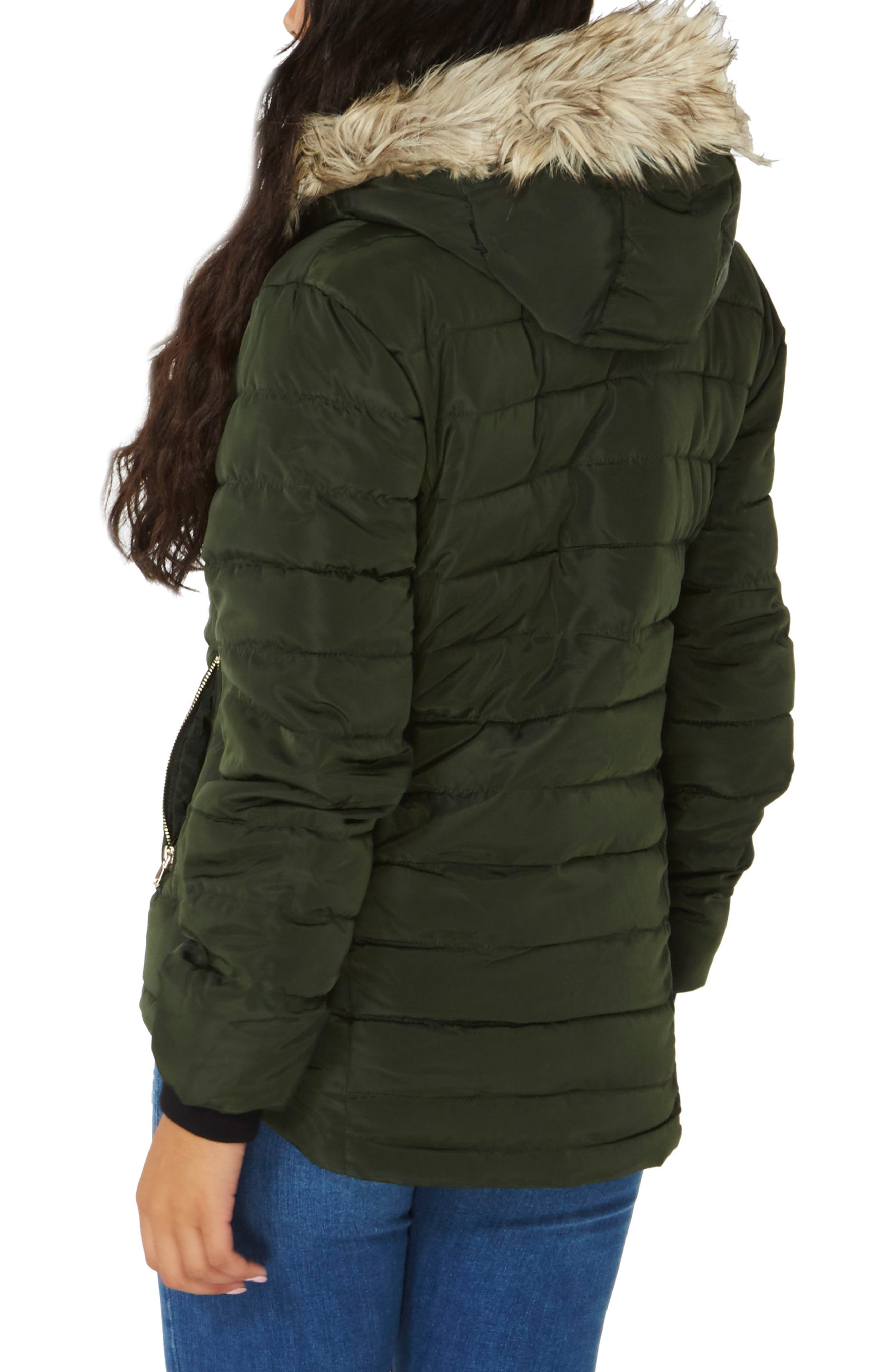 Hooded Faux Fur Puffer Jacket,                             Alternate thumbnail 2, color,                             Green