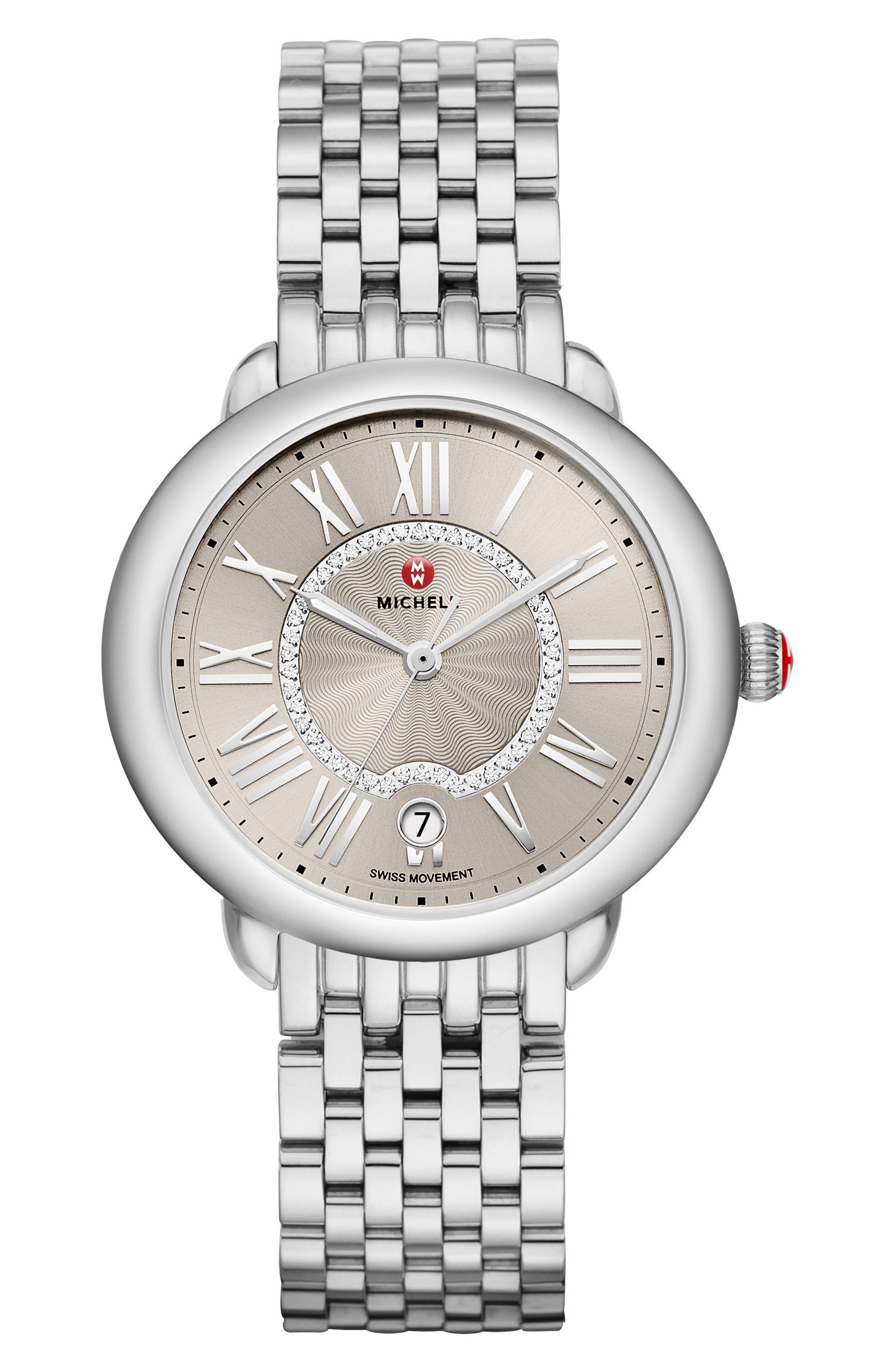 Serein Diamond Dial Watch Case, 36mm x 34mm,                             Alternate thumbnail 2, color,                             Silver/ Cashmere/ Silver