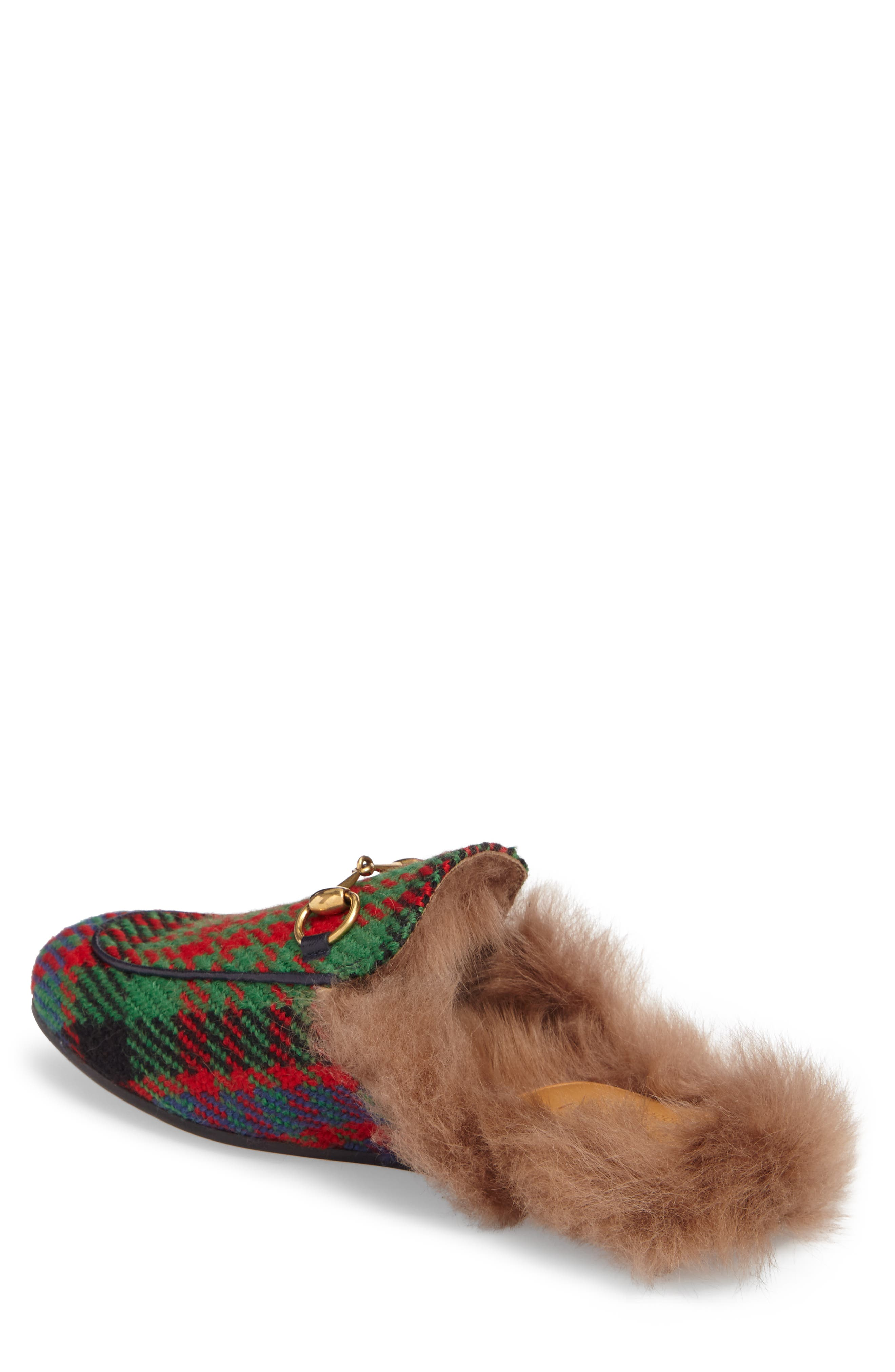 Princetown Genuine Shearling Plaid Loafer Mule,                             Alternate thumbnail 2, color,                             Green/ Blue/ Red