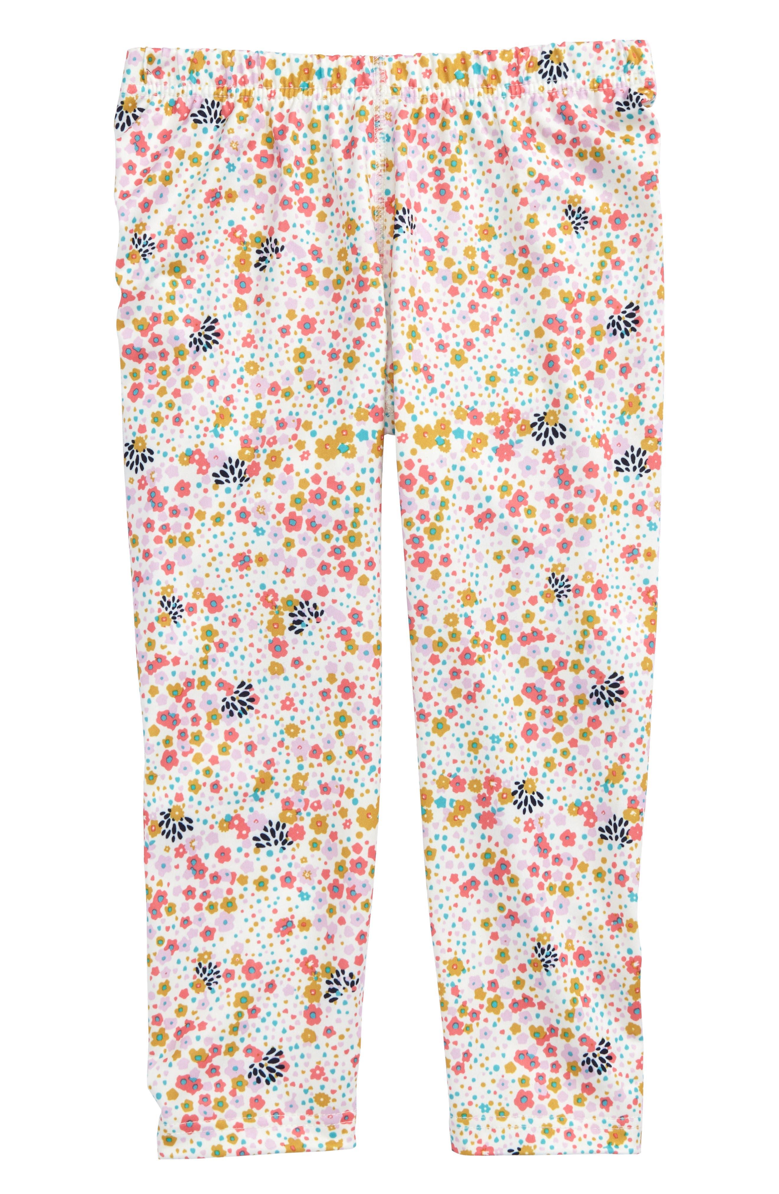 Capilene Print Leggings,                         Main,                         color, Flurry Floral:Birch White