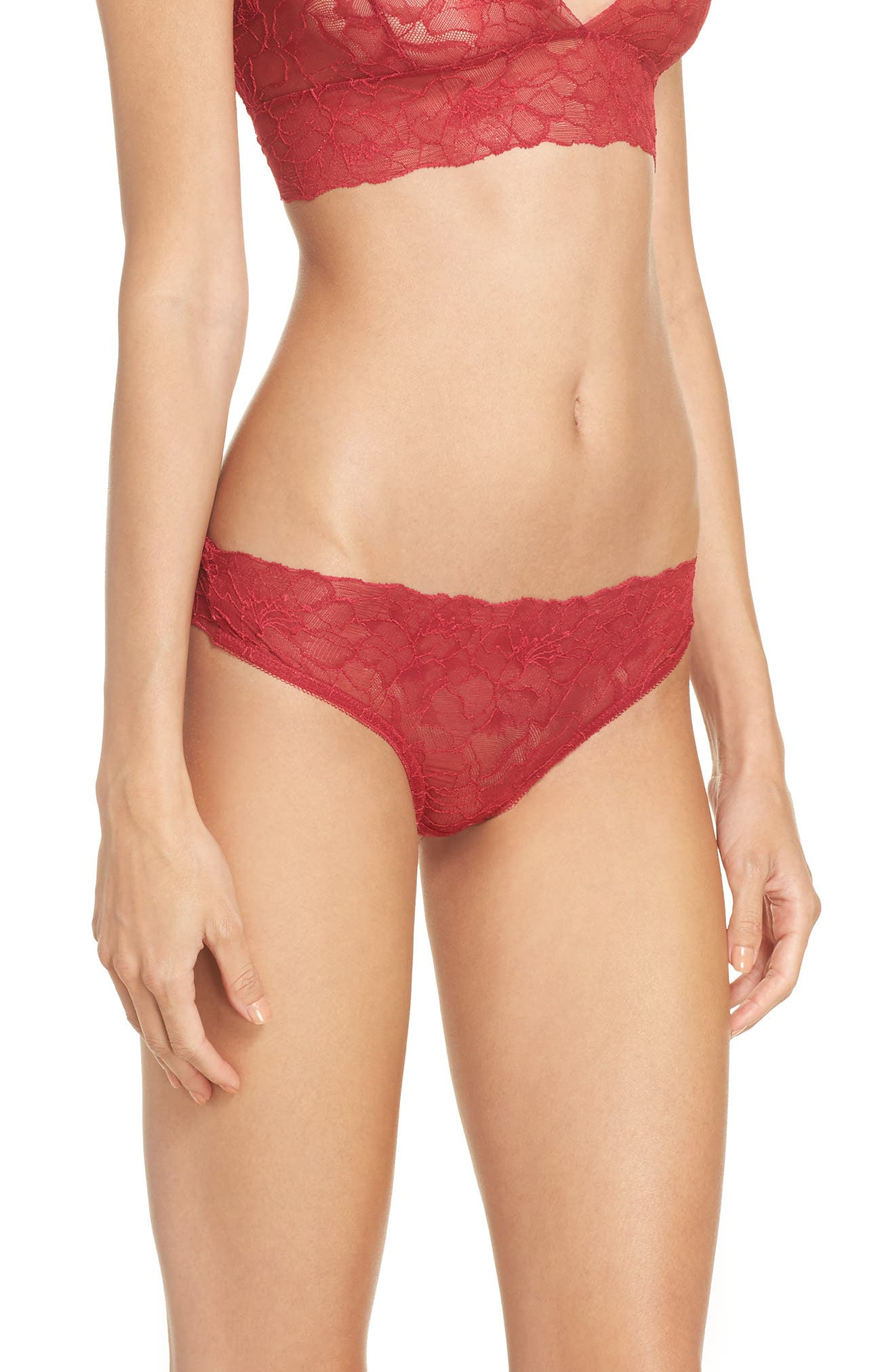 All Lace Glamour Lace Thong,                             Alternate thumbnail 3, color,                             Scarlet
