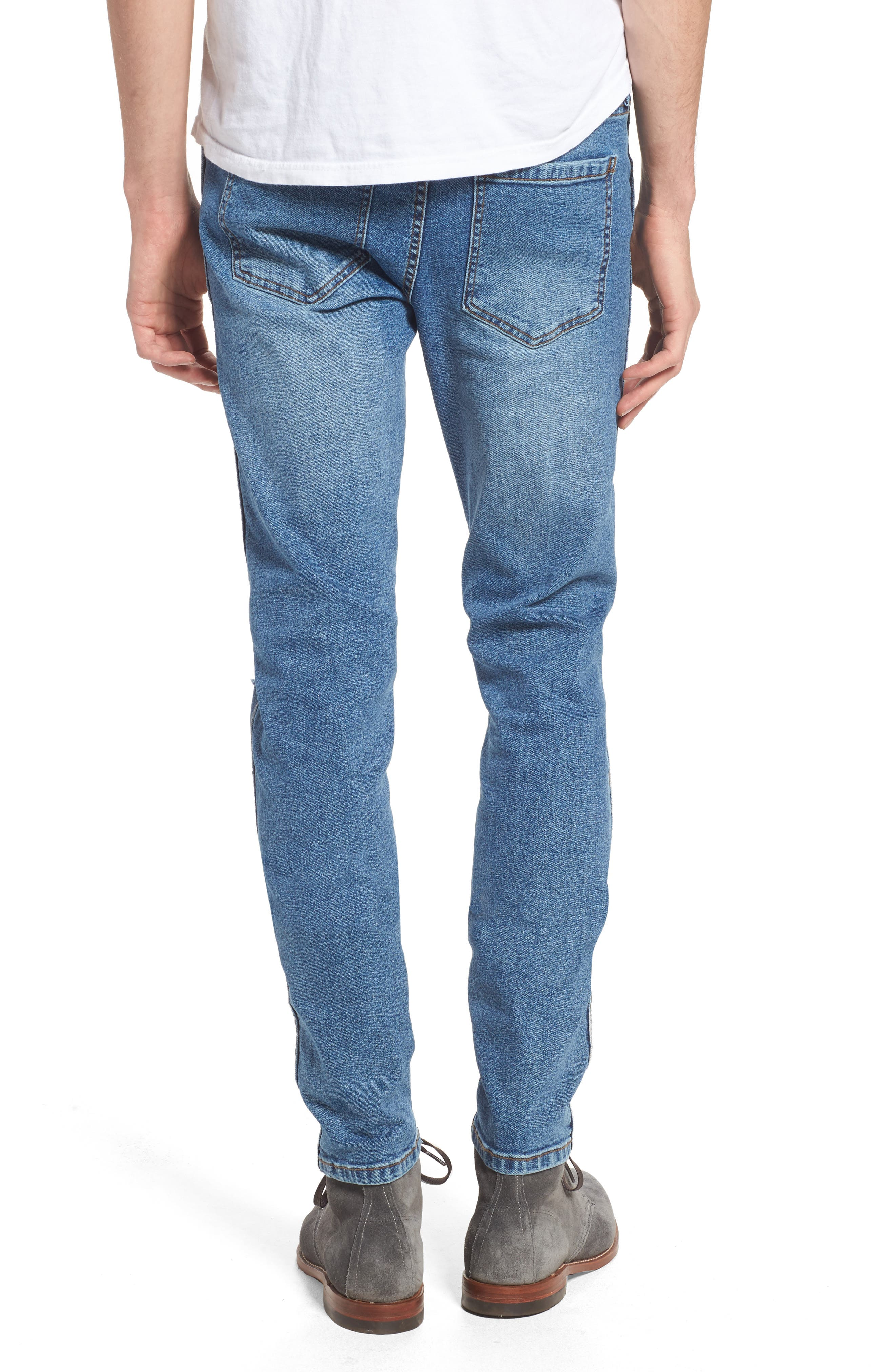Snap Skinny Fit Jeans,                             Alternate thumbnail 2, color,                             Light Stone Destroyed