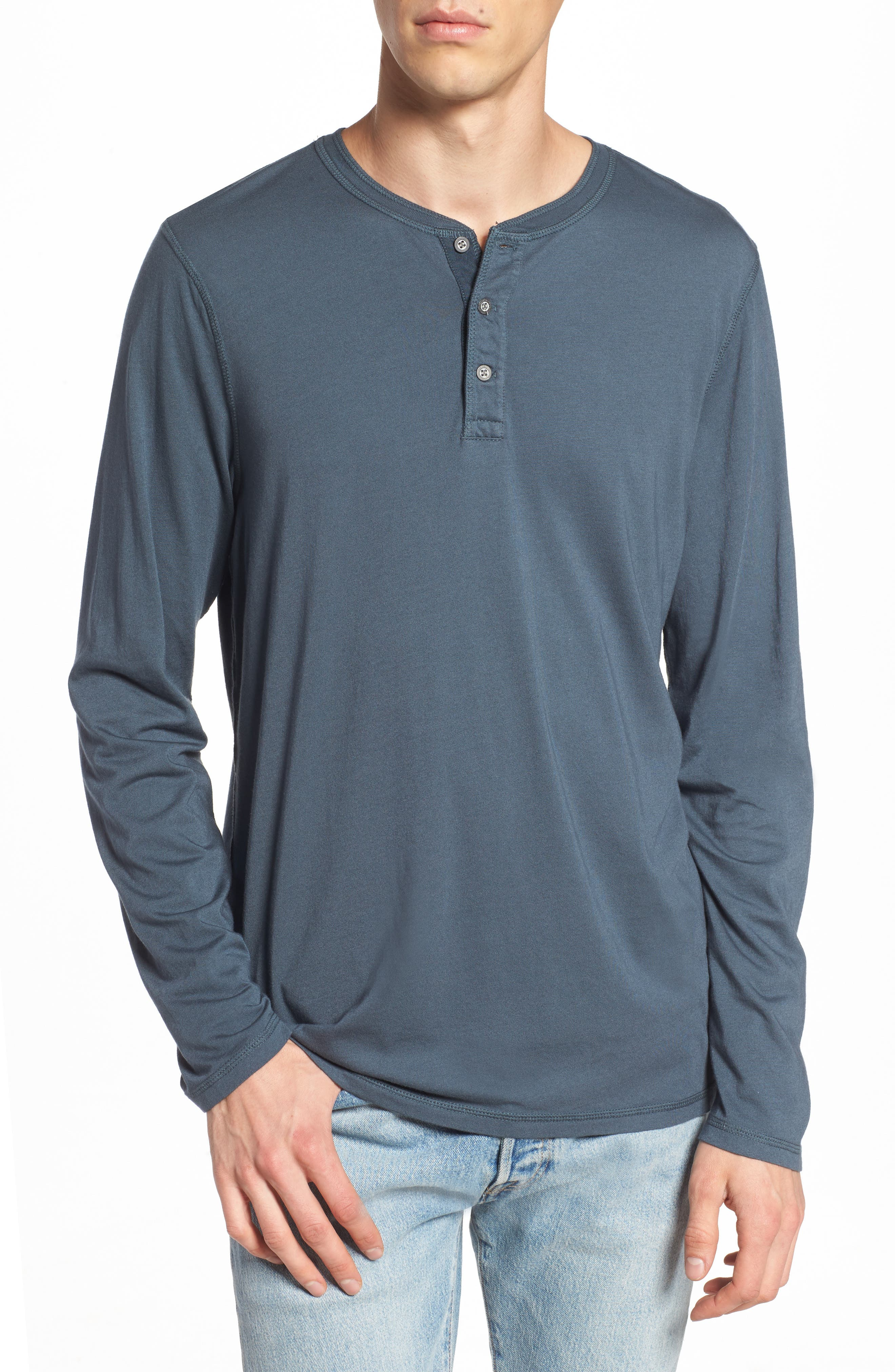 Clyde Slim Fit Long Sleeve Henley,                             Main thumbnail 1, color,                             Blue Slate