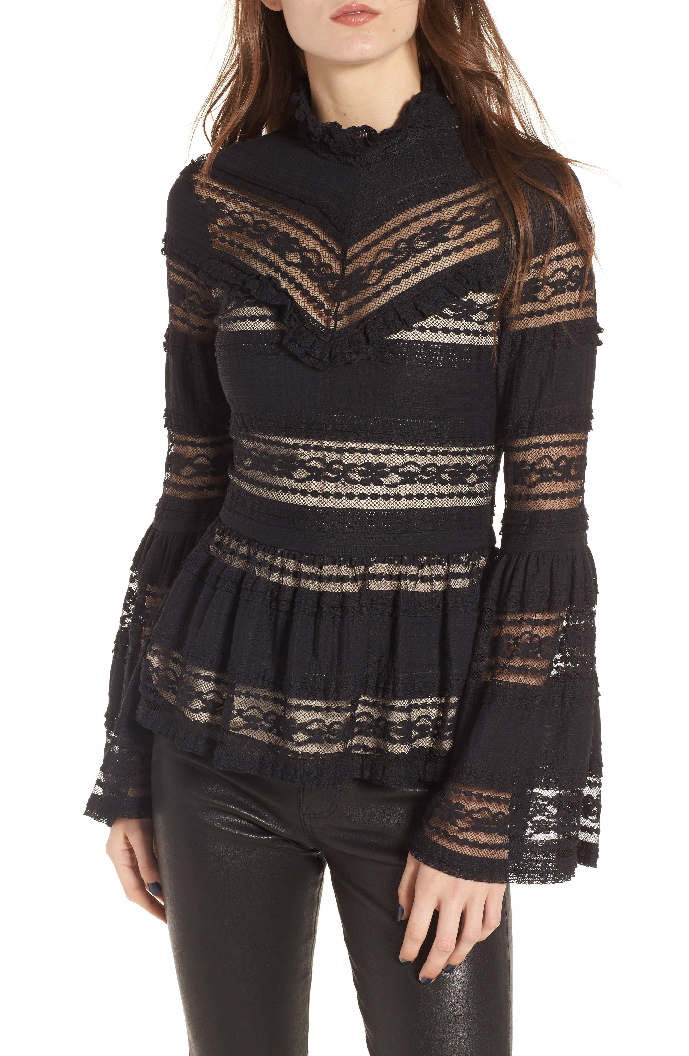 Monique Bell Sleeve Top,                         Main,                         color, Black