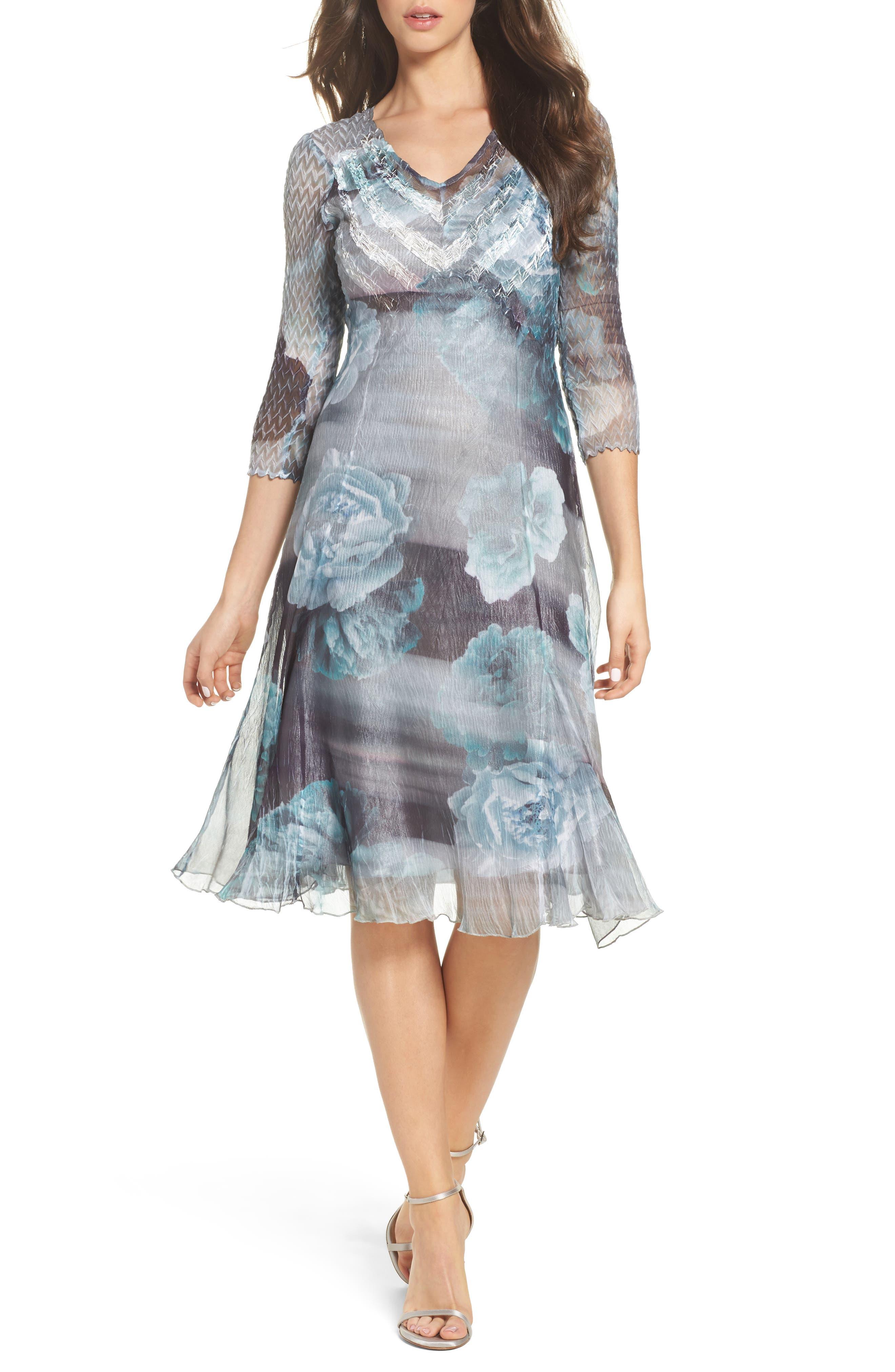 Floral A-Line Chiffon Dress,                         Main,                         color, Jade Mist