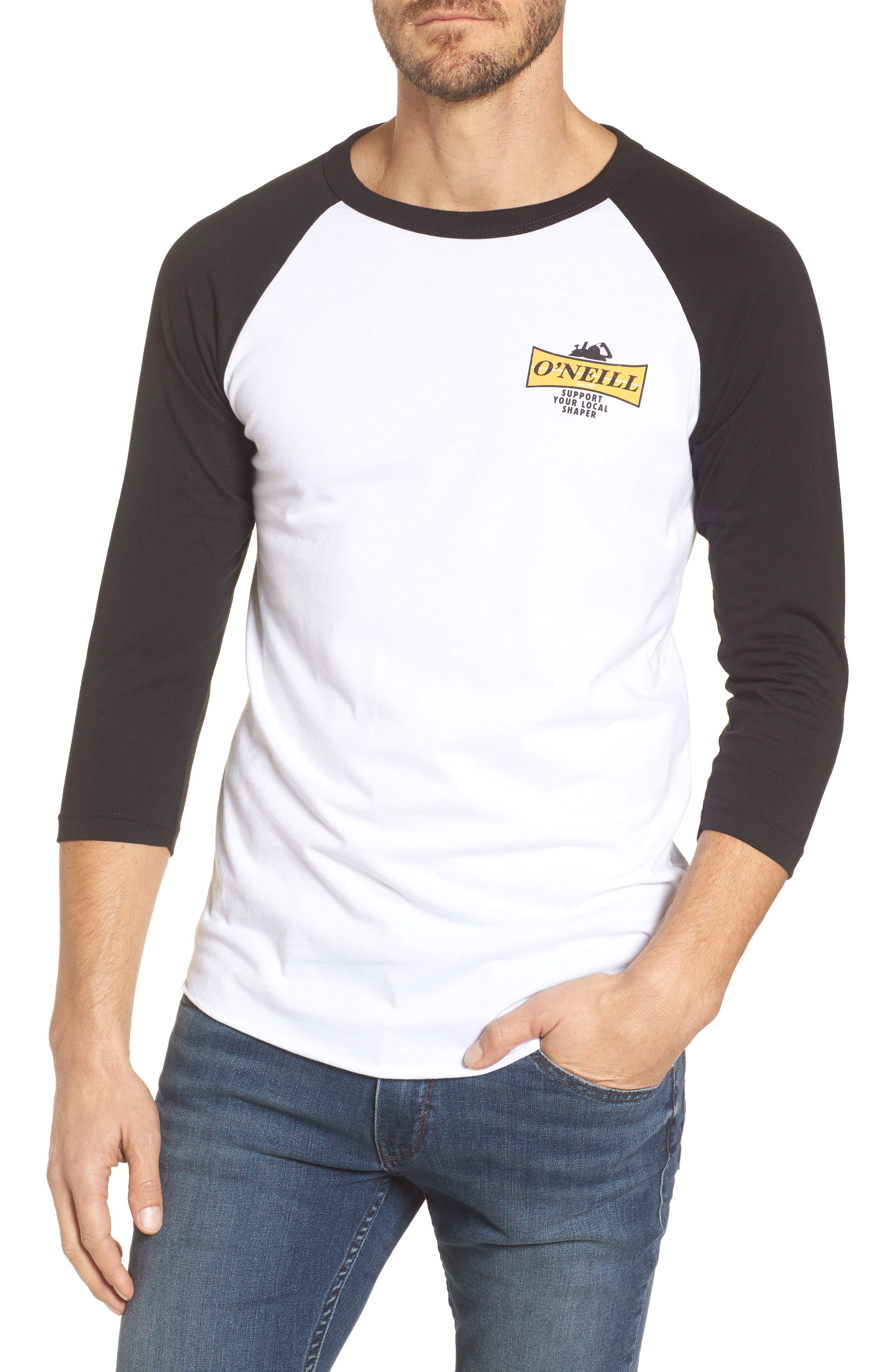 Planer Raglan T-Shirt,                         Main,                         color, White W/ Black