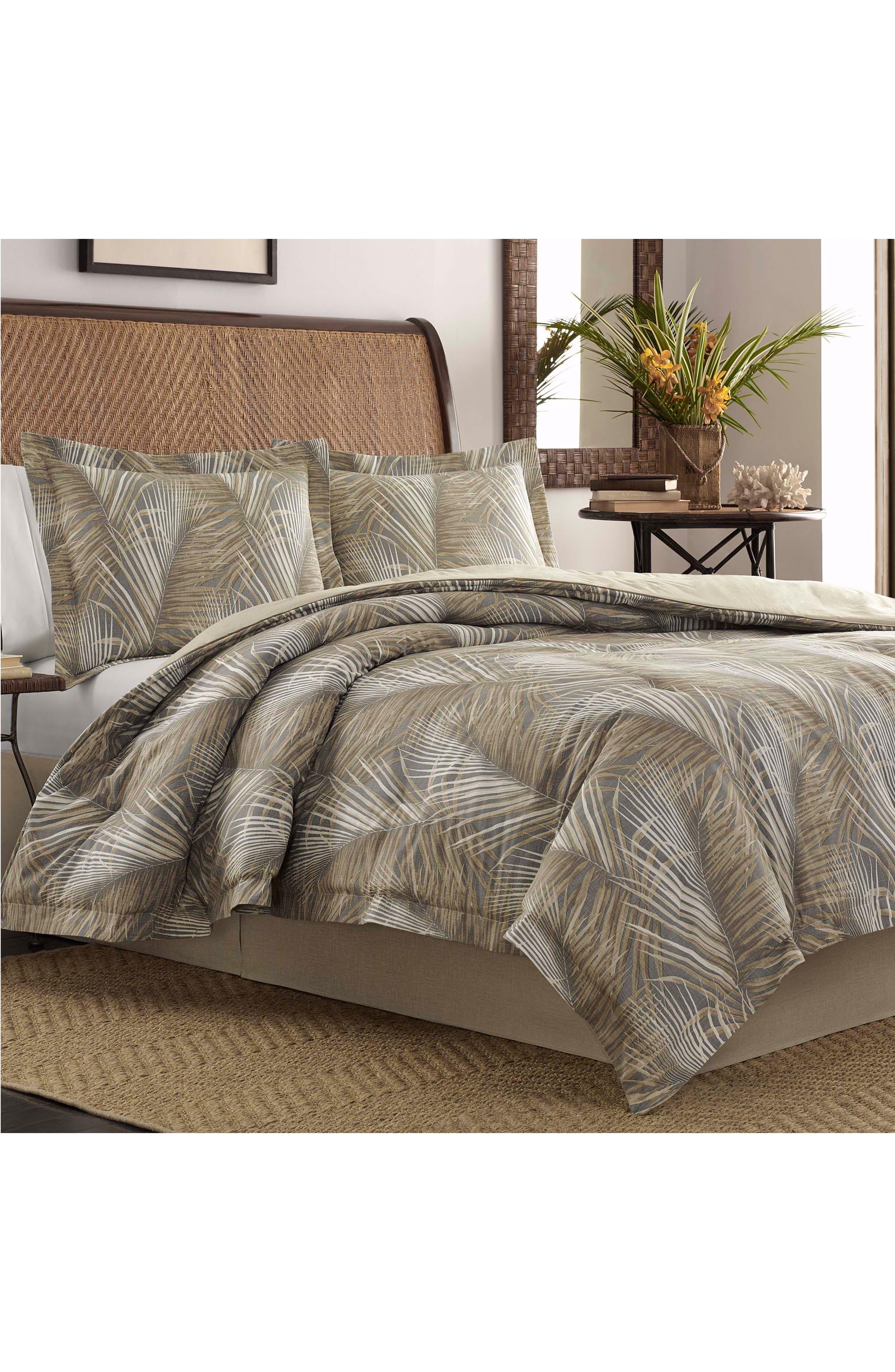 Raffia Palms Comforter & Sham Set,                         Main,                         color, Pewter