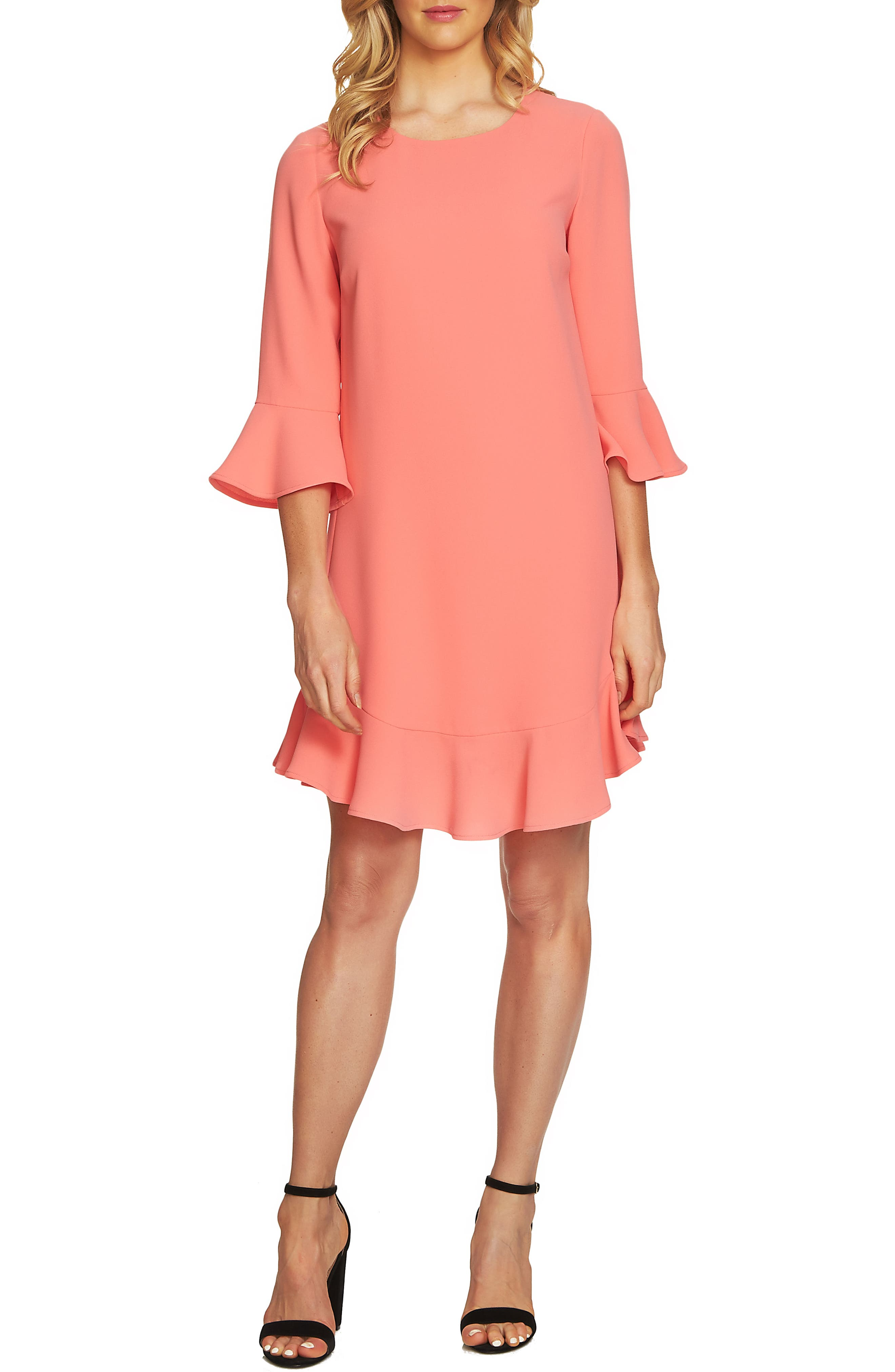 Ruffle Hem Trim Dress,                         Main,                         color, Coral Jewel
