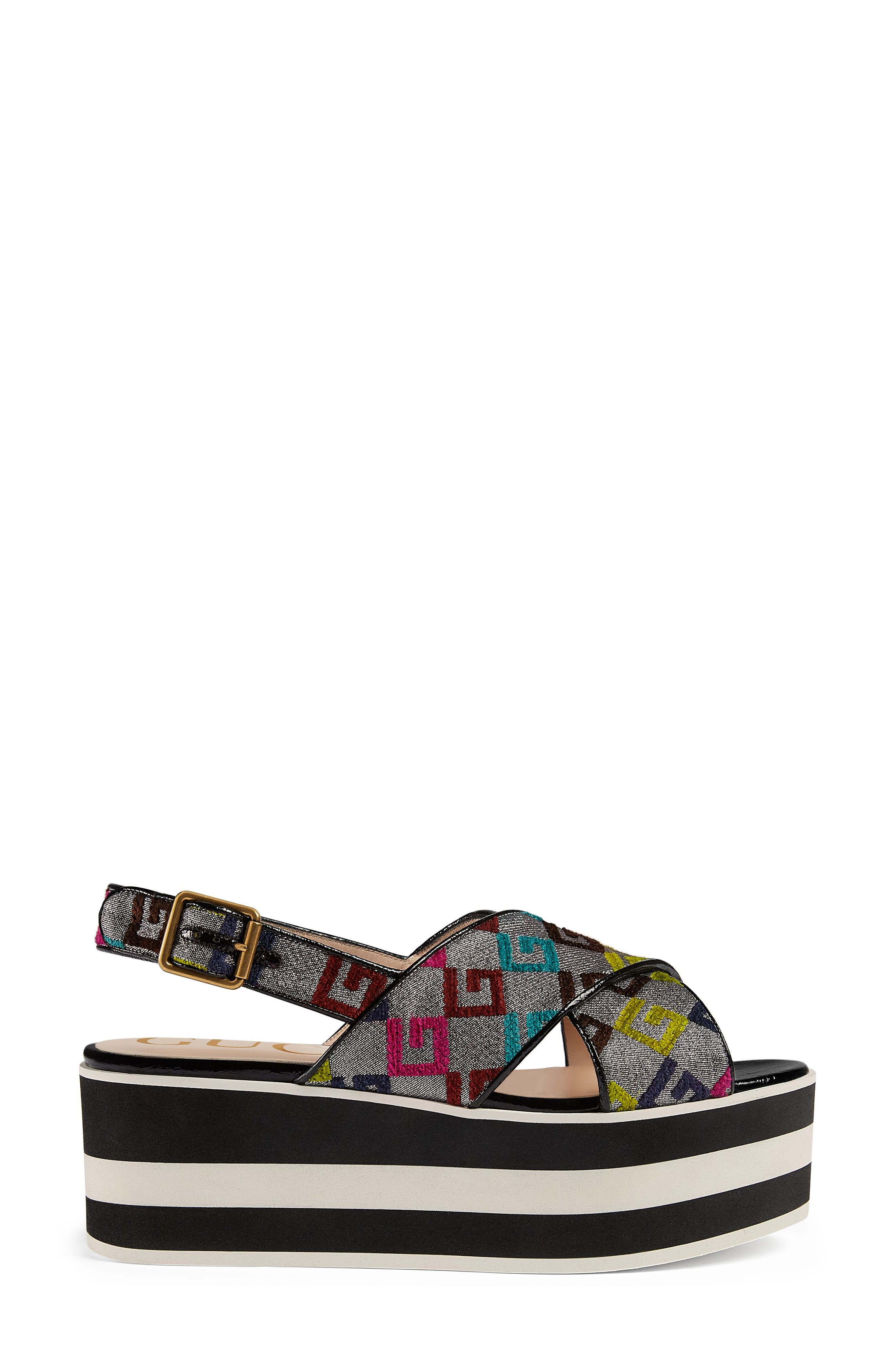 Peggy Flatform Sandal,                             Alternate thumbnail 3, color,                             Argento