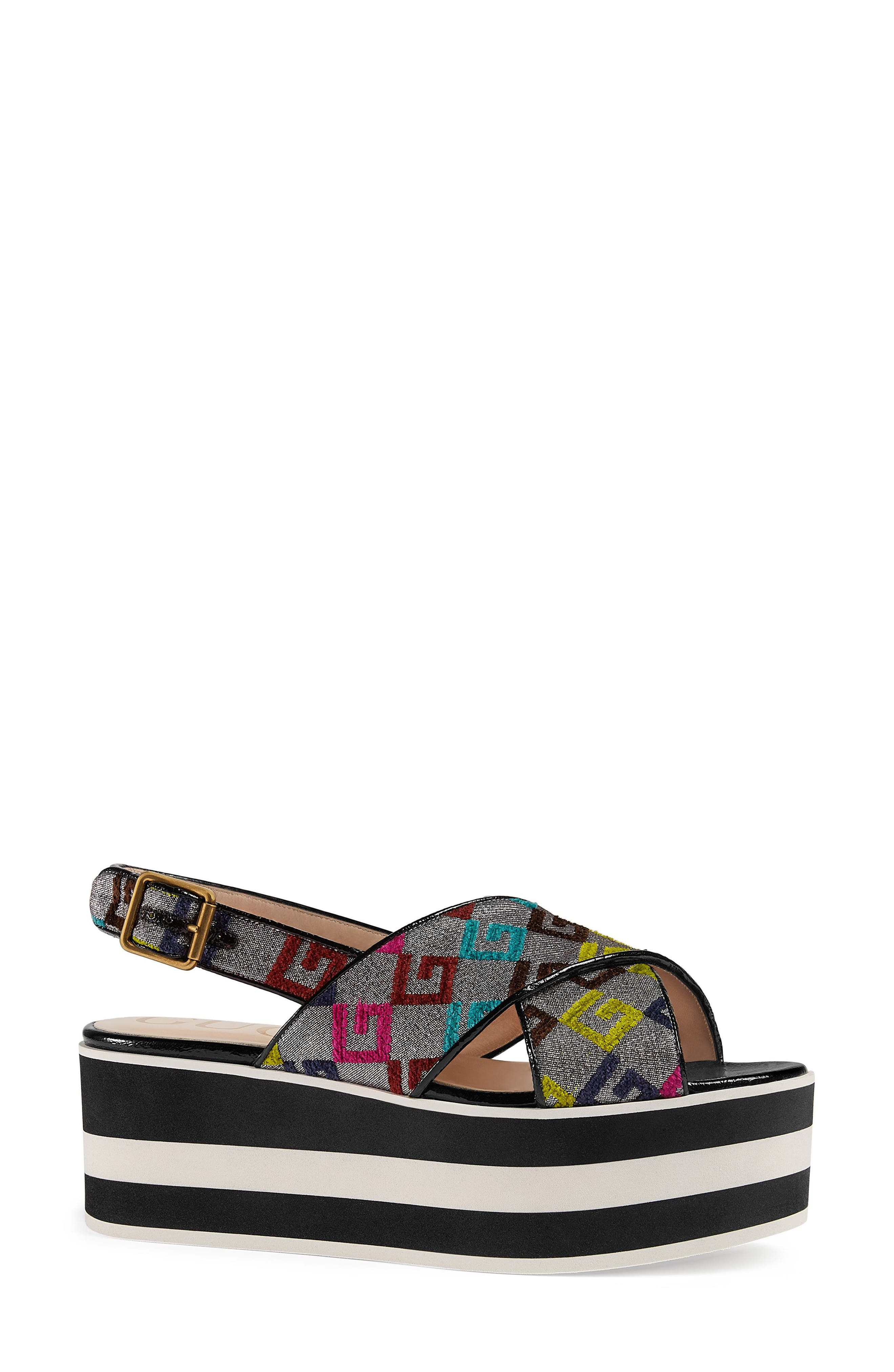 Peggy Flatform Sandal,                             Main thumbnail 1, color,                             Argento