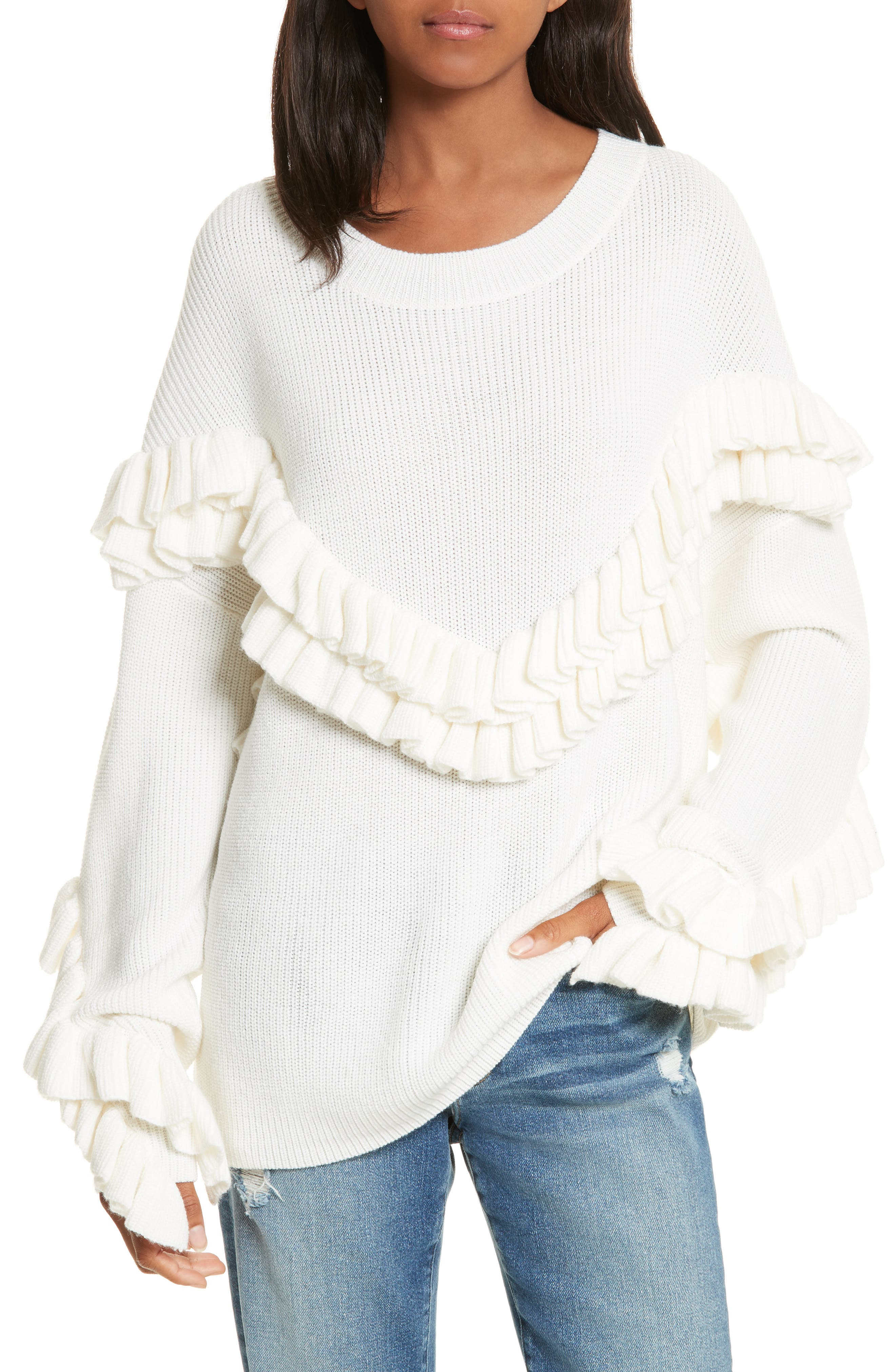 Ruffle Dolman Sweater,                         Main,                         color, Off White