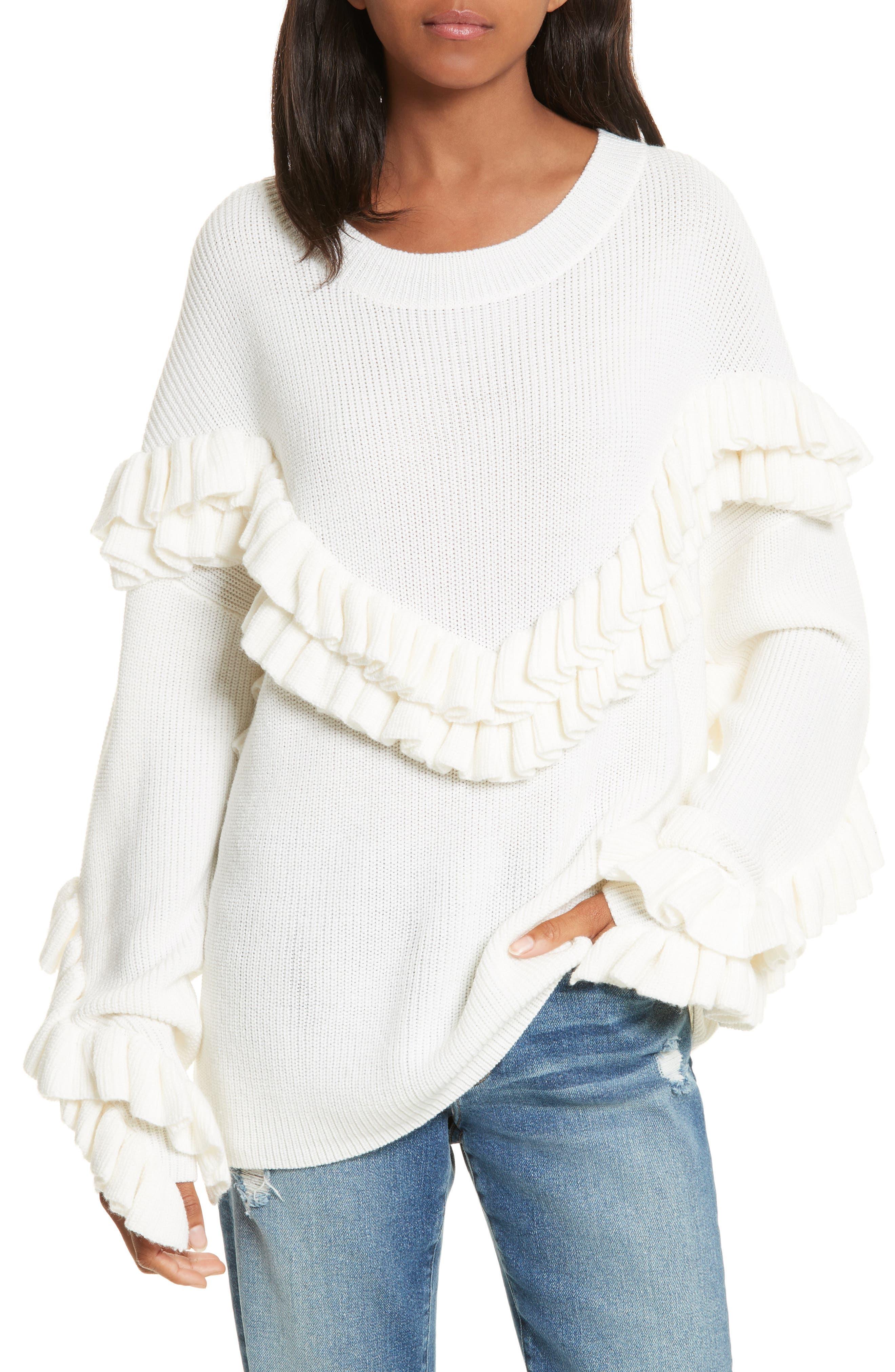 FRAME Ruffle Dolman Sweater