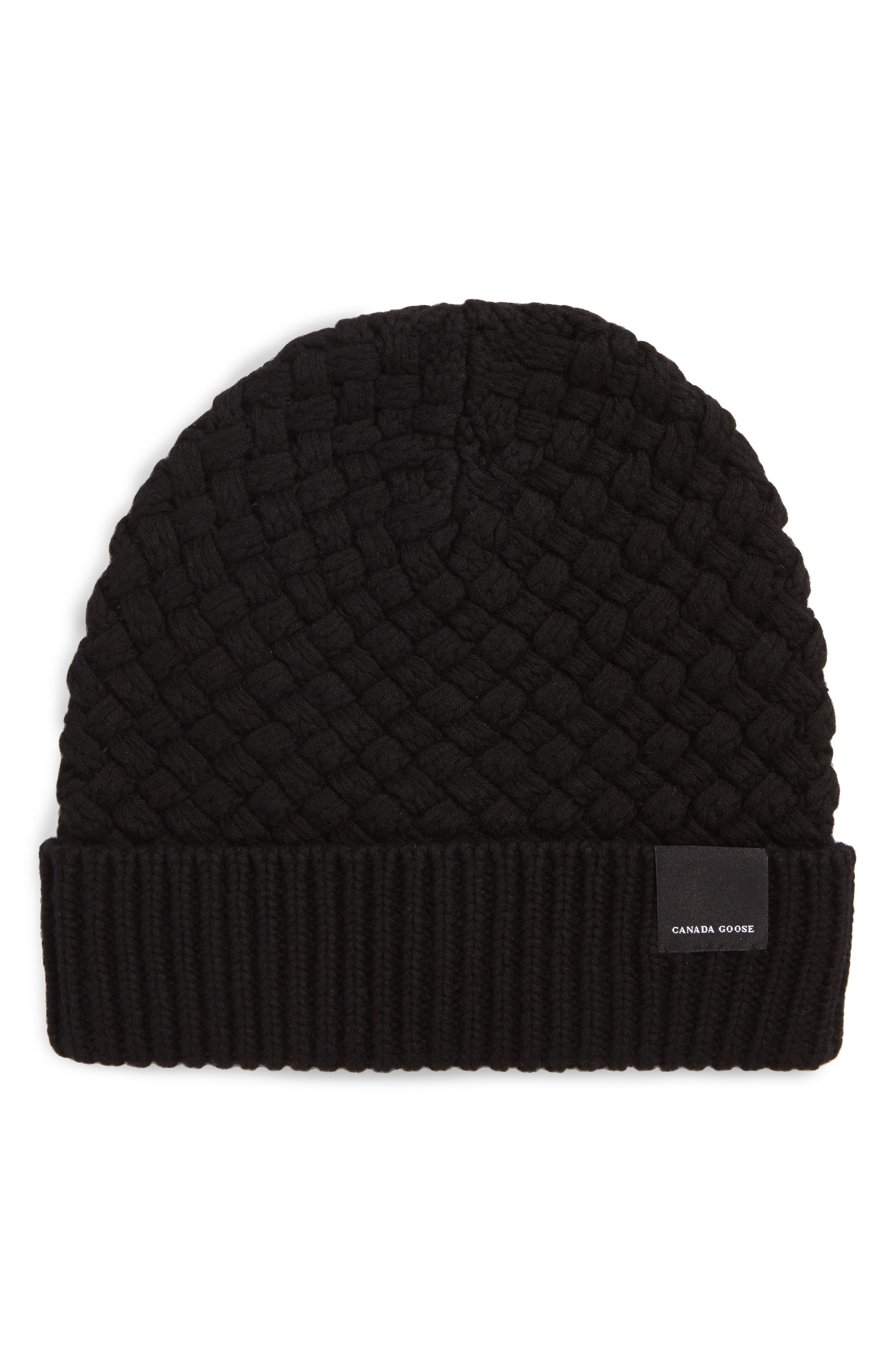 Merino Wool Basket Stitch Beanie,                         Main,                         color, Black