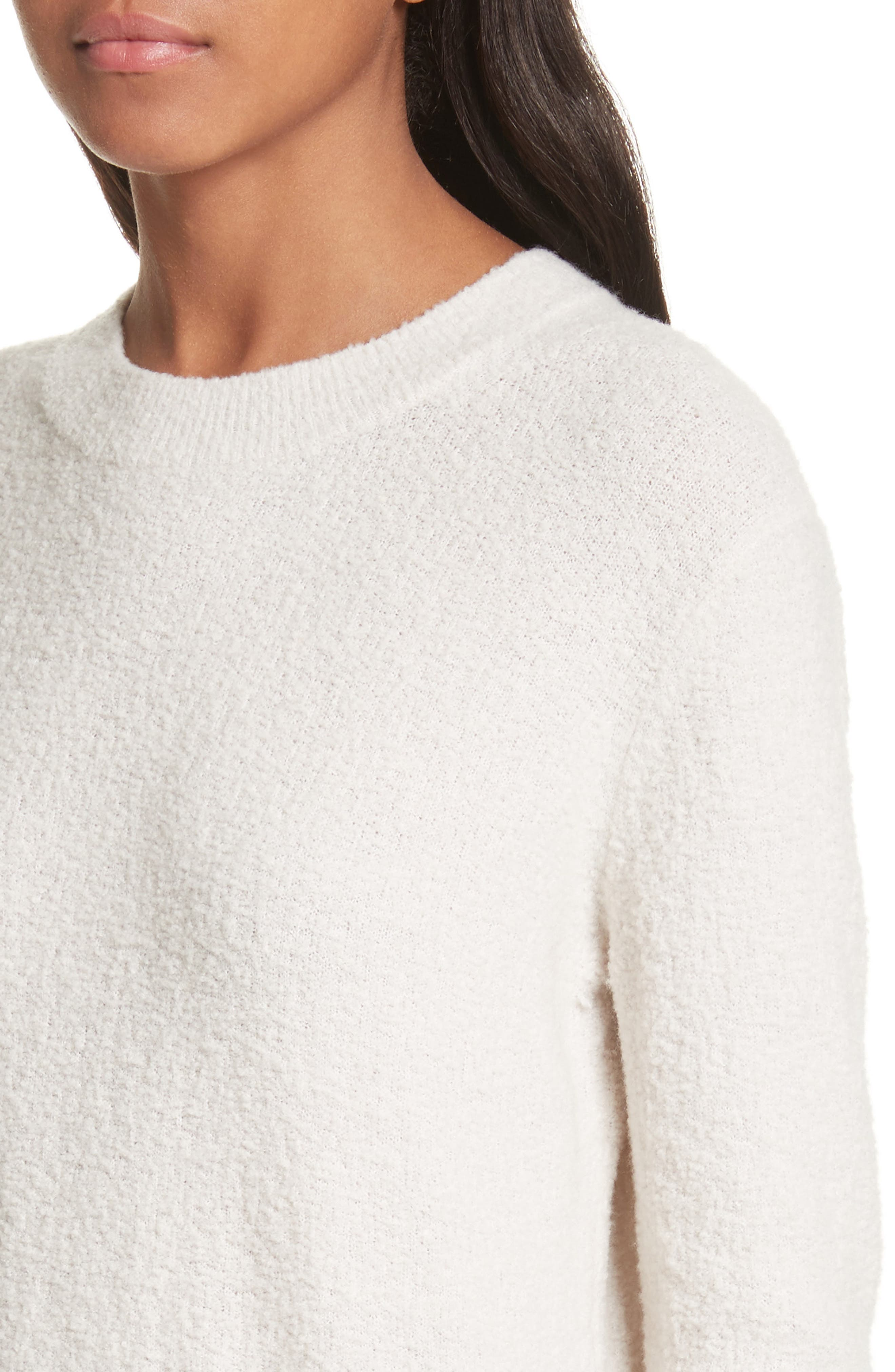 Crewneck Wool Blend Sweater,                             Alternate thumbnail 4, color,                             Off White