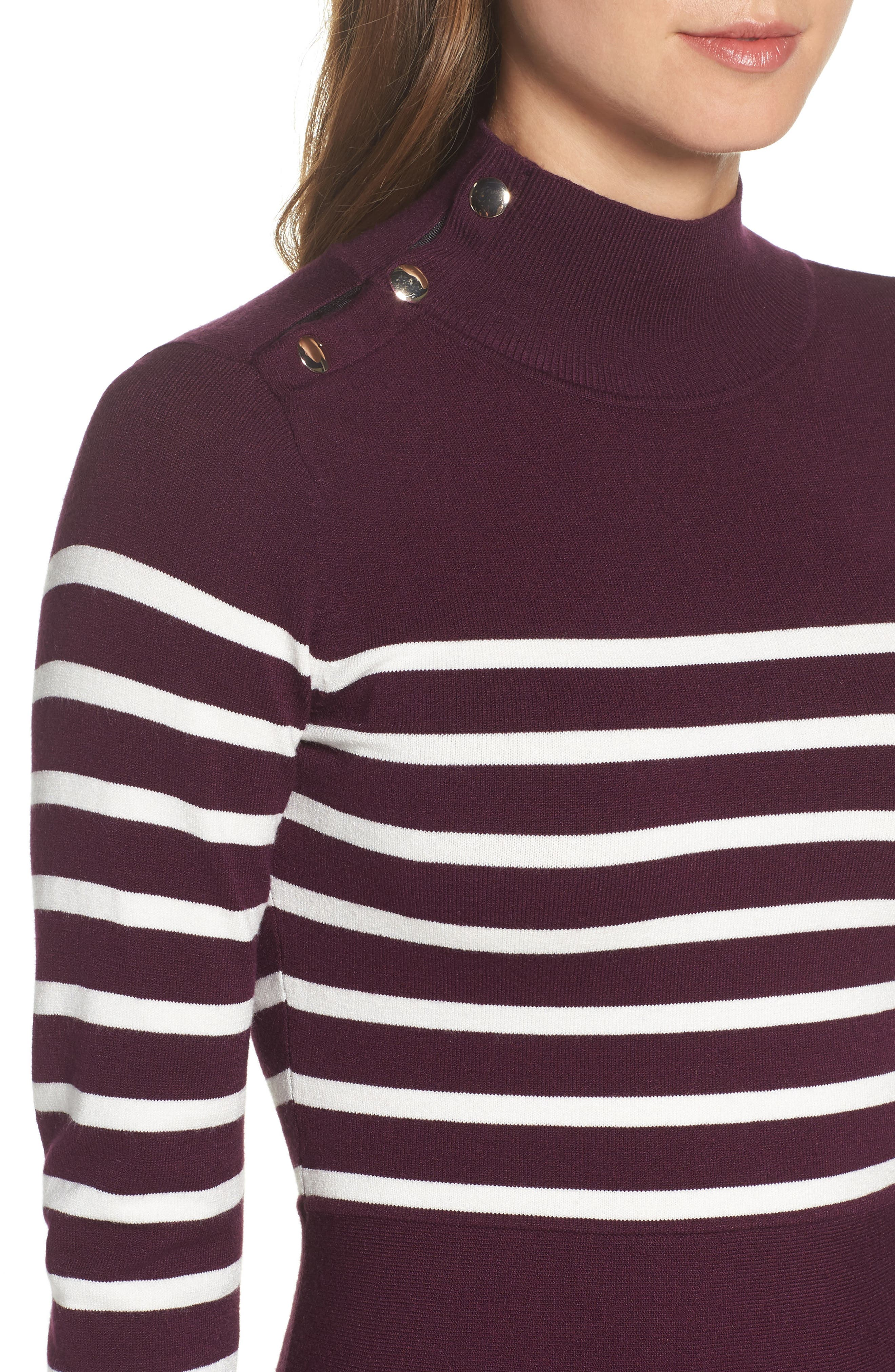 Stripe Mock Neck Fit & Flare Dress,                             Alternate thumbnail 4, color,                             Wine