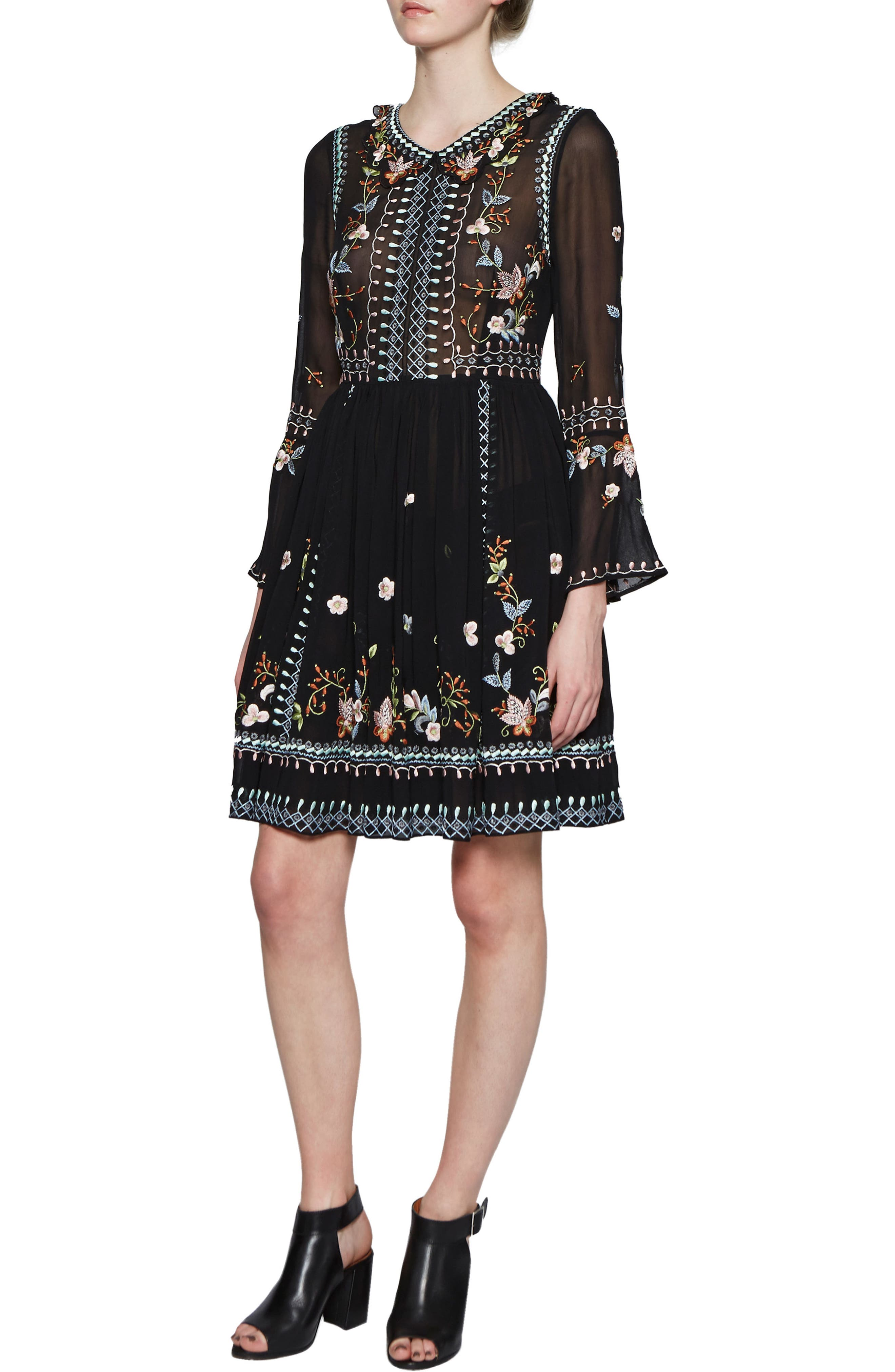 Bijou Stitch A-Line Dress,                             Alternate thumbnail 3, color,                             Black Multi