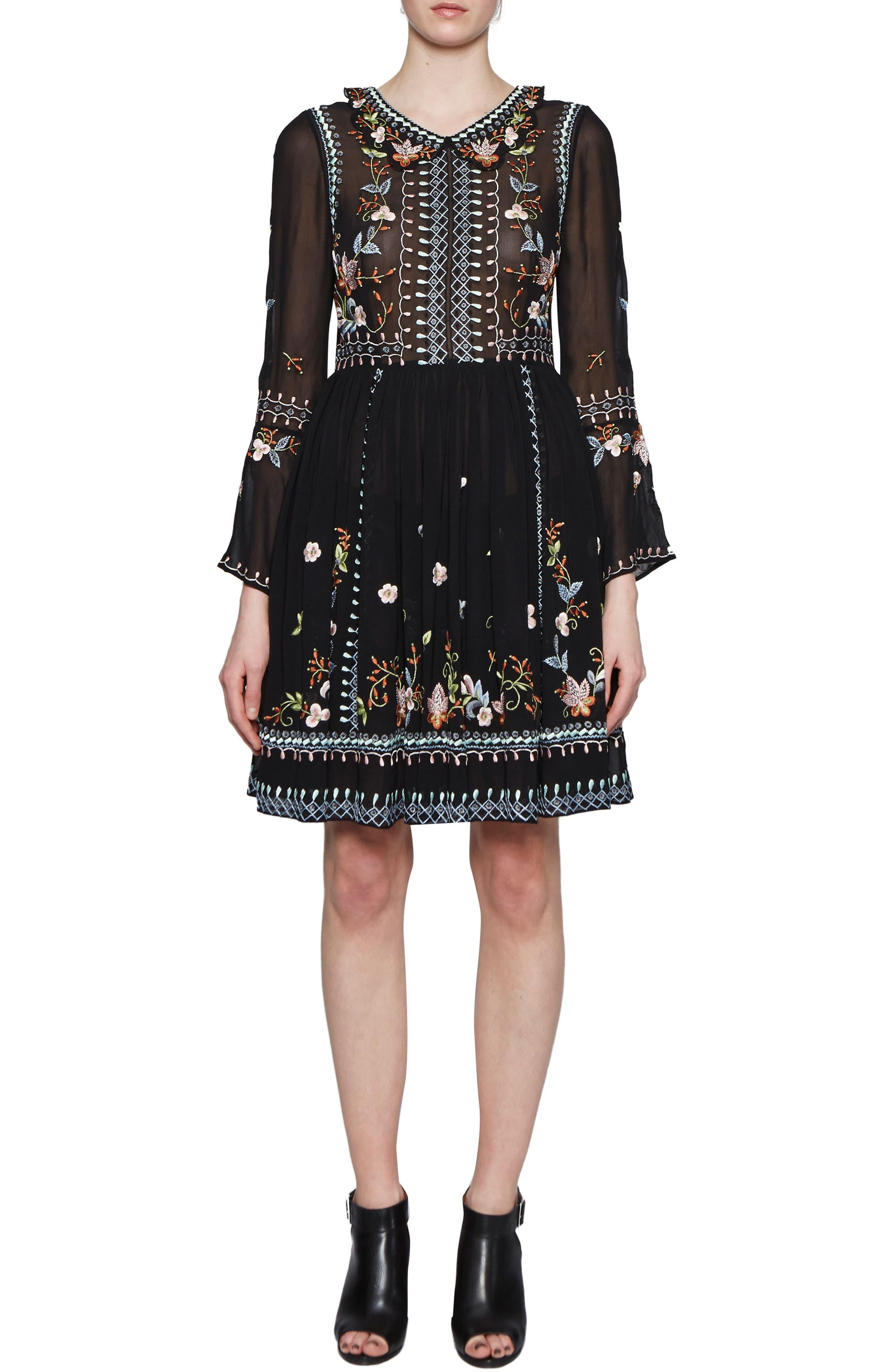Bijou Stitch A-Line Dress,                         Main,                         color, Black Multi