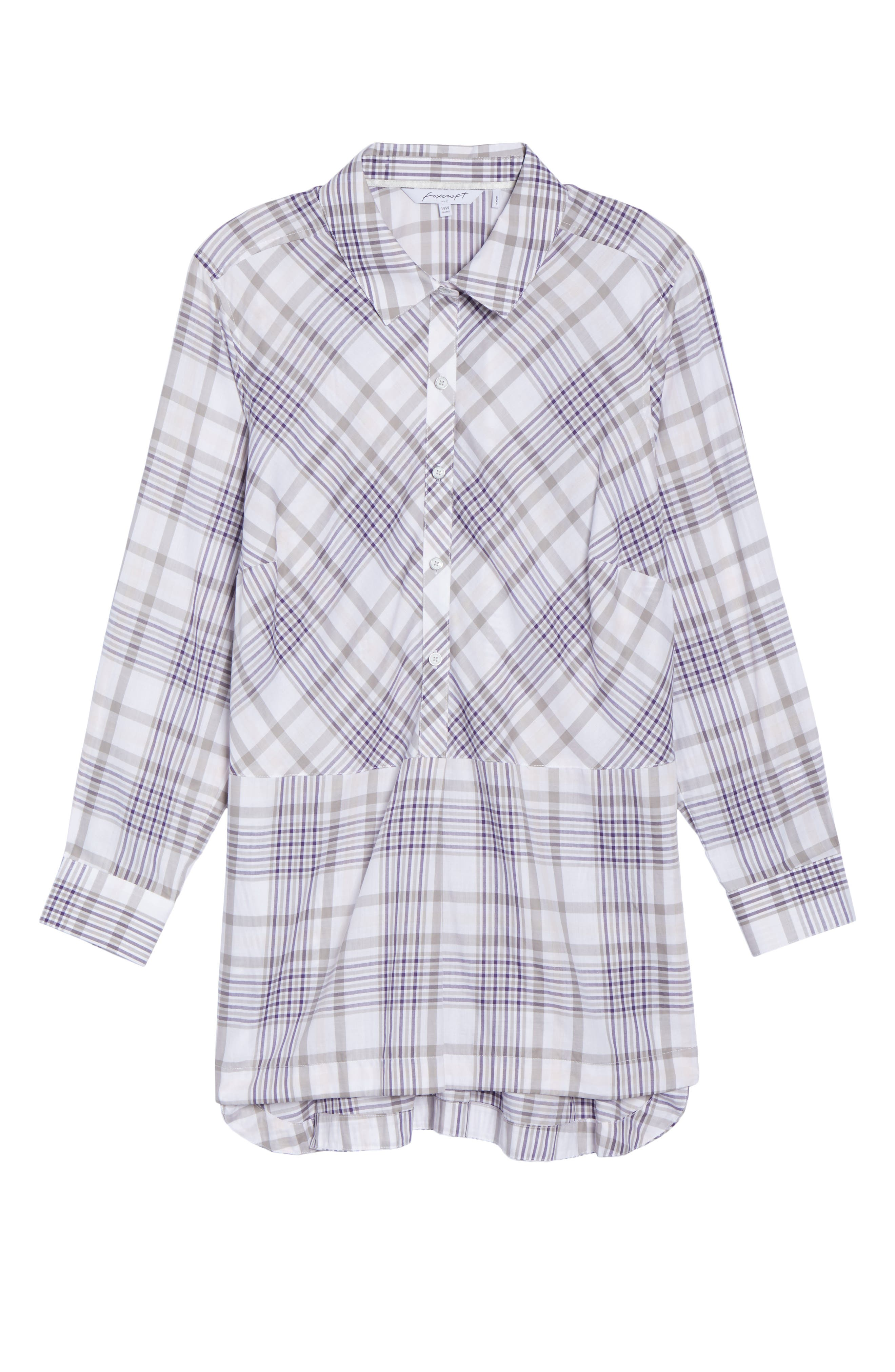 Alternate Image 6  - Foxcroft Maddy Winter Plaid Shirt (Plus Size)