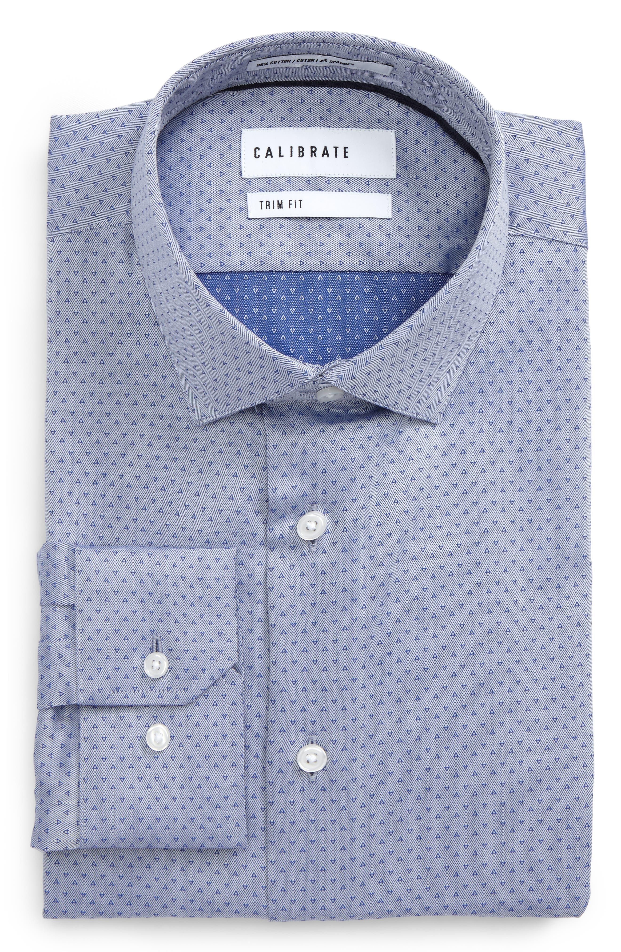 Trim Fit Print Dress Shirt,                             Main thumbnail 1, color,                             Blue Marine
