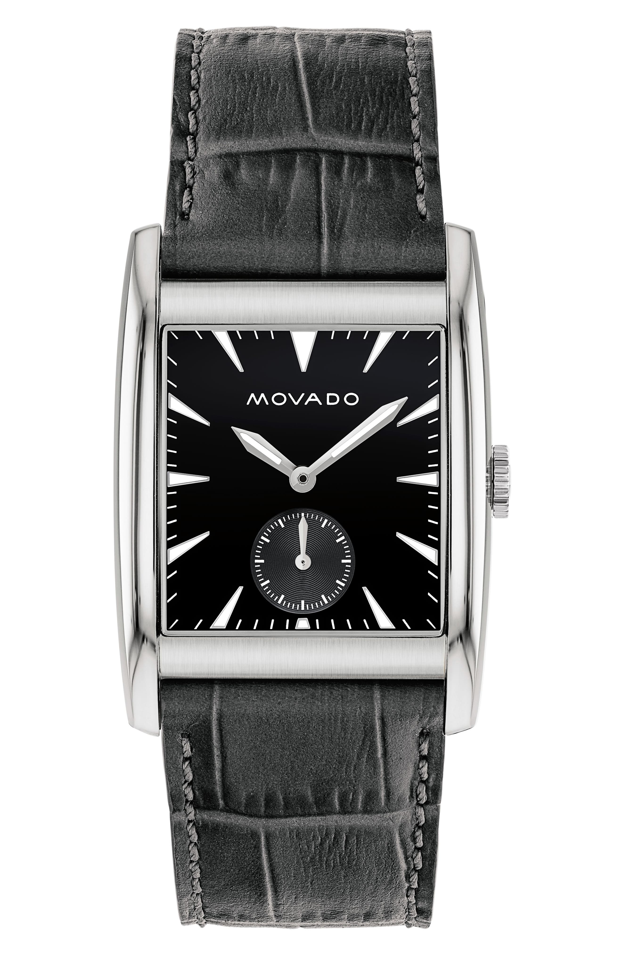Heritage Leather Strap Watch, 41mm,                         Main,                         color, Grey/ Black/ Silver